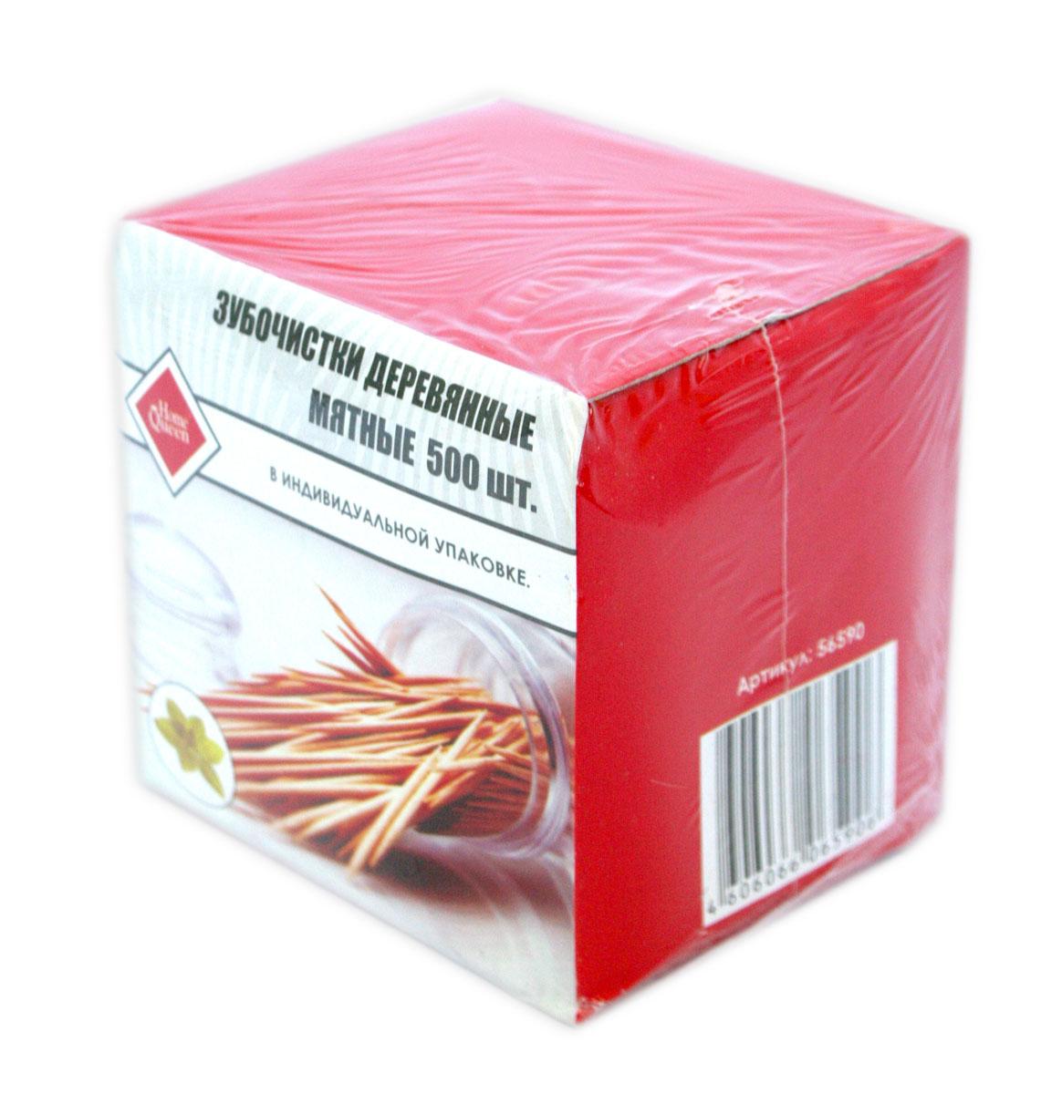 Зубочистки деревянные Home Queen, с ароматом мяты, 6,5 см, 500 штVT-1520(SR)Зубочистки Home Queen используются для очистки межзубных промежутков и боковых поверхностей зубов. Сегодня зубочистки предлагаются во всех учреждениях общественного питания от скромных кафе до фешенебельных ресторанов. Наиболее полезны для зубов зубочистки из натурального природного материала - дерева. Зубочистки Home Queen соответствуют этому требованию, так как изготовлены из древесины березы. Обладают приятным ароматом мяты. Каждая зубочистка находится в индивидуальной бумажной упаковке. Длина зубочистки: 6,5 см.Комплектация: 500 шт.