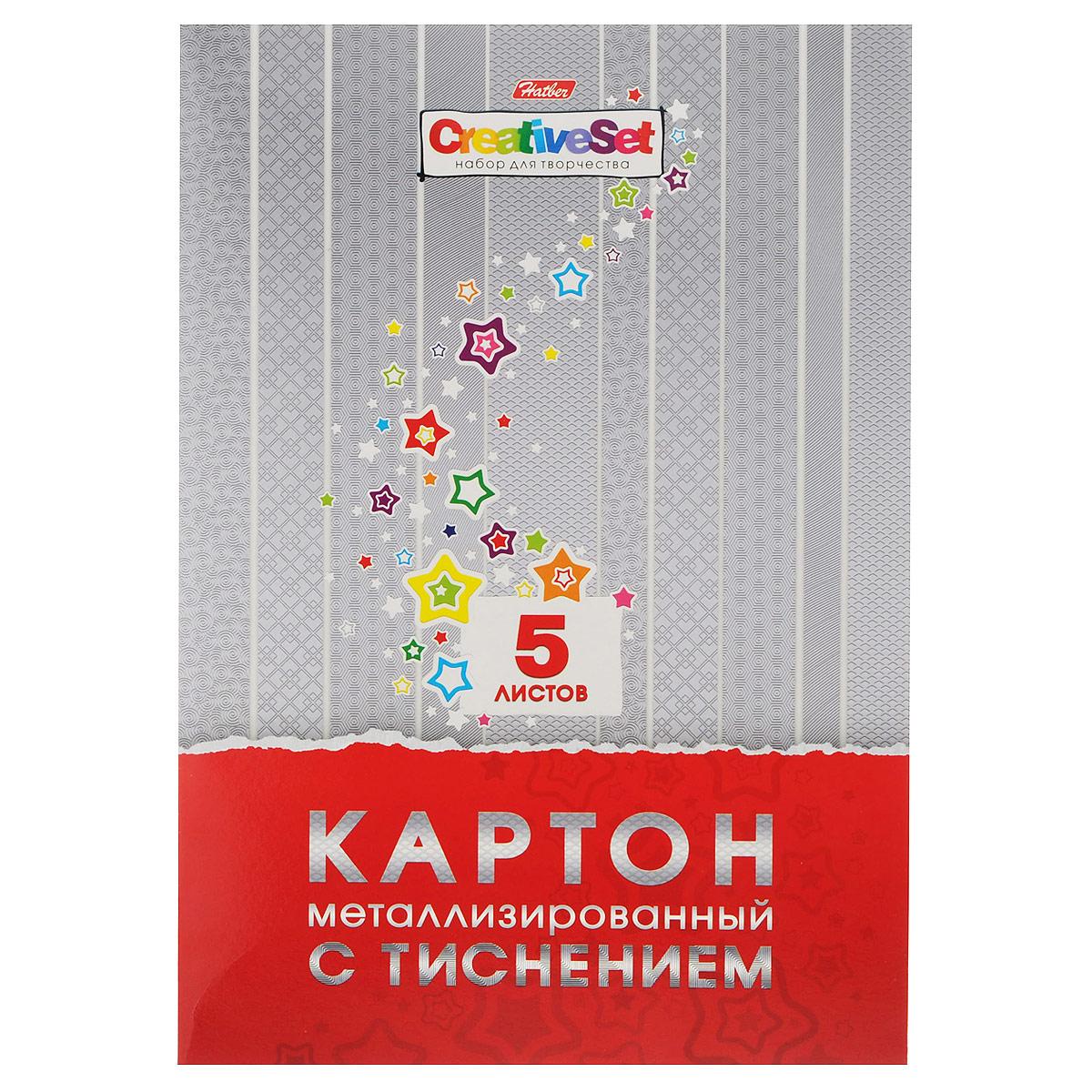 Металлизированный картон Hatber Creative Set, с тиснением, цвет: серебристый, 5 листов5К4мтт_12145Металлизированный картон Hatber Creative Set позволит вашему ребенку создавать всевозможные аппликации и поделки. Набор состоит из пяти листов картона серебристого цвета с объемным тиснением различными узорами. Картон упакован в яркую оригинальную картонную папку. Создание поделок из металлизированного картона поможет ребенку в развитии творческих способностей, кроме того, это увлекательный досуг. Рекомендуемый возраст от 6 лет.