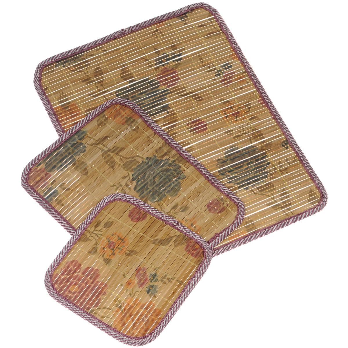 Набор салфеток под горячее Dommix, цвет: коричневый, 3 шт. OW041OW041Набор Dommix, состоящий из 3 бамбуковых салфеток под горячее, идеально впишется в интерьер современной кухни. Изделия декорированы изображением цветов. Салфетки из бамбука не впитывают запахи, легко моются, не деформируются при длительном использовании. Бамбук обладает антибактериальными и водоотталкивающими свойствами. Также имеют высокую прочность. Каждая хозяйка знает, что салфетка под горячее - это незаменимый и очень полезный аксессуар на каждой кухне. Ваш стол будет не только украшен оригинальной салфеткой, но и сбережен от воздействия высоких температур ваших кулинарных шедевров.