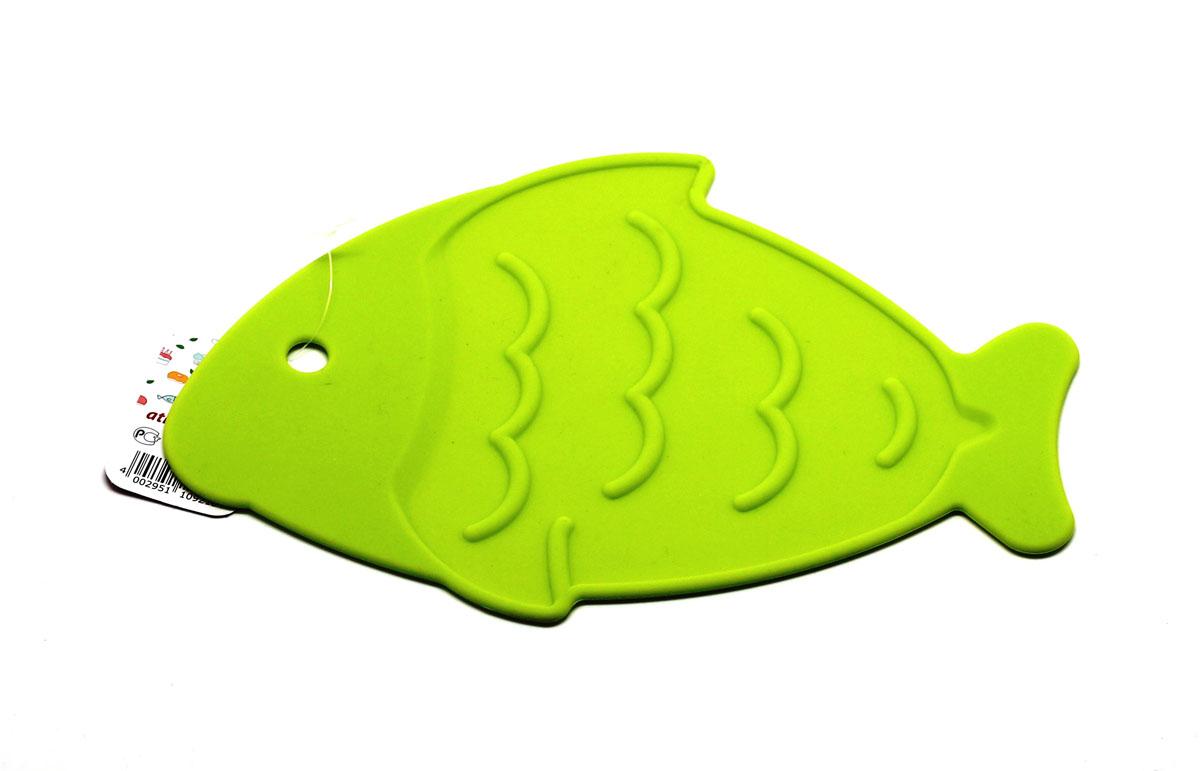 Подставка под горячее Atlantis Рыба, цвет: салатовый, 26 х 17 смVT-1520(SR)Подставка под горячее Atlantis Рыба изготовлена из высококачественного пищевого силикона. Выдерживает температуру до +230°С, не впитывает запахи и предохраняет поверхность вашего стола от высоких температур. Оригинальный дизайн внесет свежесть и новизну в интерьер кухни. Подставка под горячее Atlantis Рыба станет незаменимым помощником на кухне.Можно мыть в посудомоечной машине.