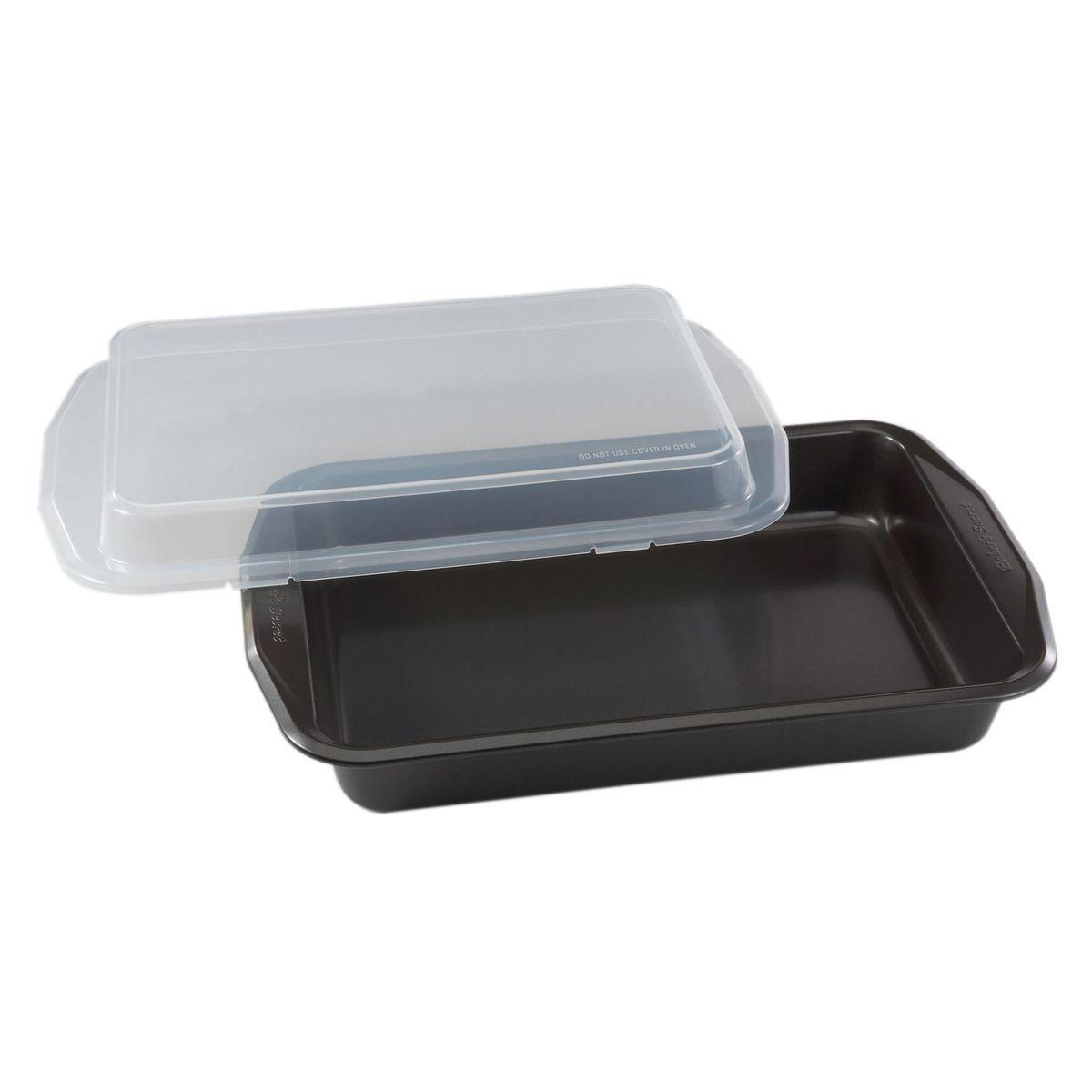 Форма для выпечки 23х33см, с крышкой, цвет: серый