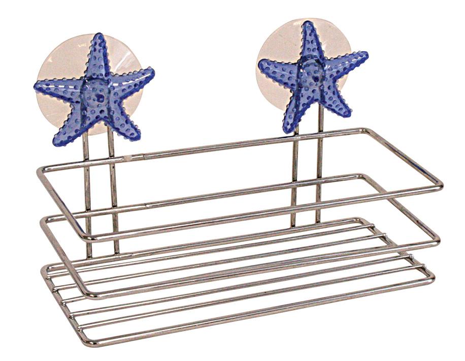 Полка для мочалки Home Queen Морская звезда, 19,5 х 10 х 10 см57414Хромированная полка Home Queen Морская звезда в виде прямоугольной корзинки идеально подойдет для хранения банных принадлежностей. Не требует сложного монтажа, крепится к стене при помощи присосок. Украшена эффектным декором.