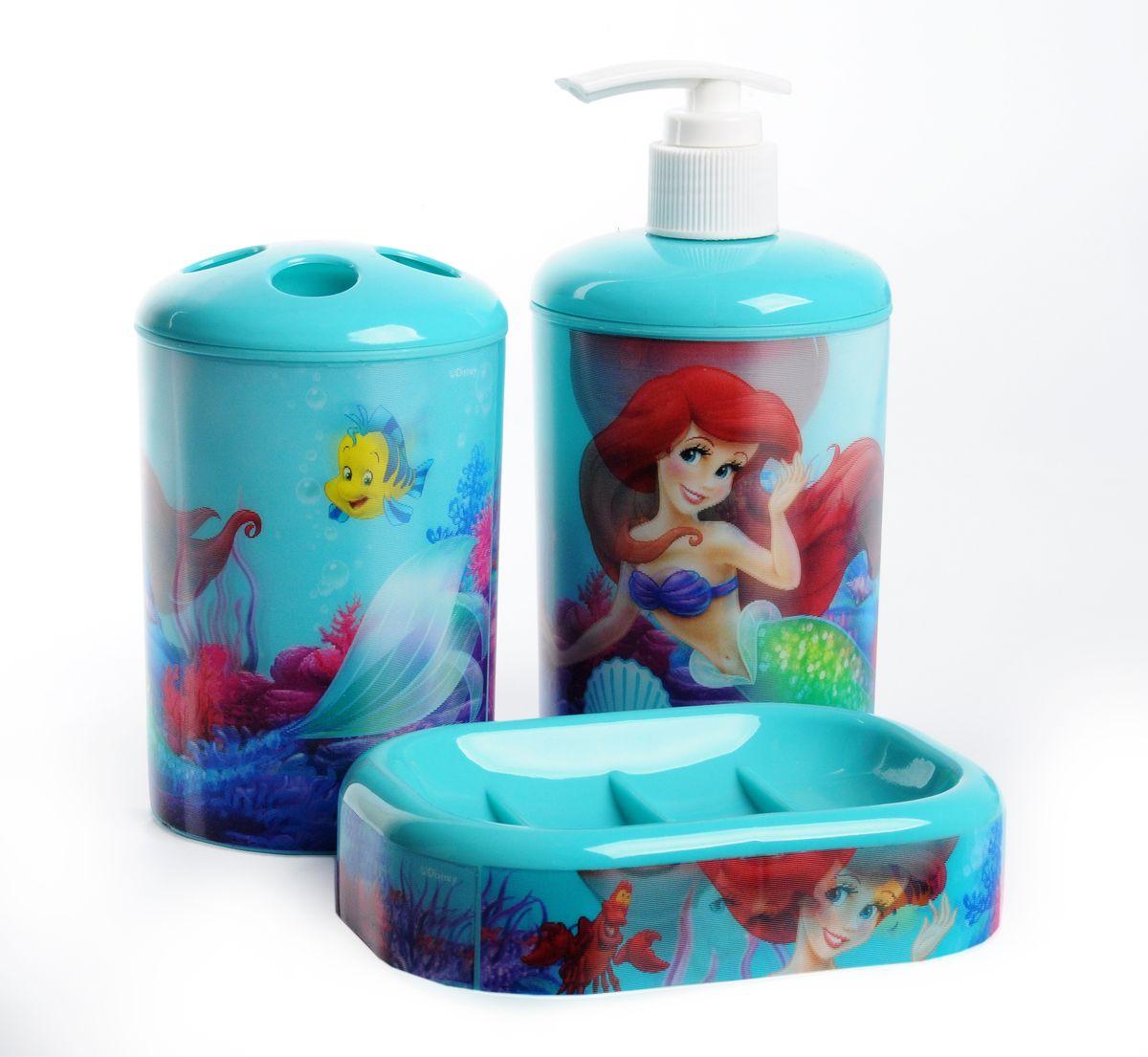 "Набор для ванной комнаты Disney ""Русалочка"", цвет: голубой, 3 предмета 64825"