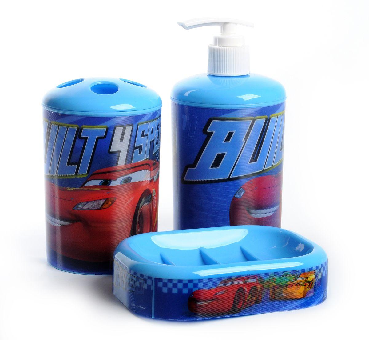 """Набор для ванной комнаты Disney """"Тачки"""", цвет: голубой, 3 предмета 64826"""