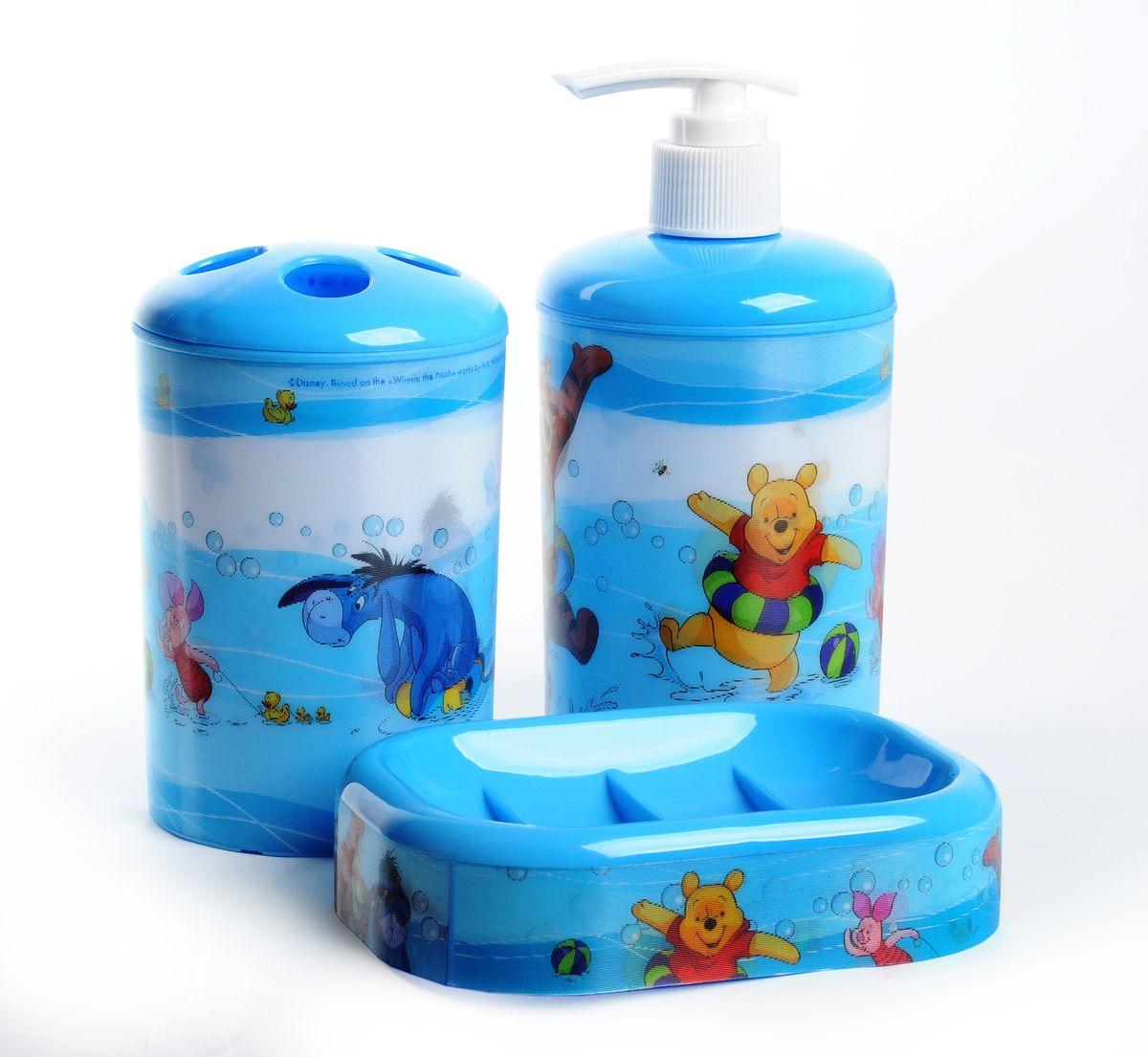 """Набор для ванной комнаты Disney """"Винни и его друзья"""", цвет: голубой, 3 предмета 64828"""