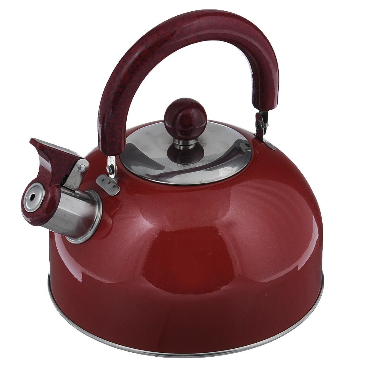Чайник Mayer & Boch Modern со свистком, цвет: красный, 2 л. МВ-3226МВ-3226Чайник Mayer & Boch Modern изготовлен из высококачественной нержавеющей стали. Гладкая и ровная поверхность существенно облегчает уход. Он оснащен удобной нейлоновой ручкой, которая не нагревается даже при продолжительном периоде нагрева воды. Носик чайника имеет насадку-свисток, что позволит вам контролировать процесс подогрева или кипячения воды. Выполненный из качественных материалов чайник Mayer & Boch Modern при кипячении сохраняет все полезные свойства воды. Чайник пригоден для использования на всех типах плит, кроме индукционных. Можно мыть в посудомоечной машине. Диаметр чайника по верхнему краю: 8,5 см. Диаметр основания: 19 см. Высота чайника (без учета ручки и крышки): 10 см. УВАЖАЕМЫЕ КЛИЕНТЫ! Обращаем ваше внимание на тот факт, что указан максимальный объем чайника с учетом полного наполнения до кромки. Объем чайника с учетом наполнения до уровня носика составляет 1,5 литра.