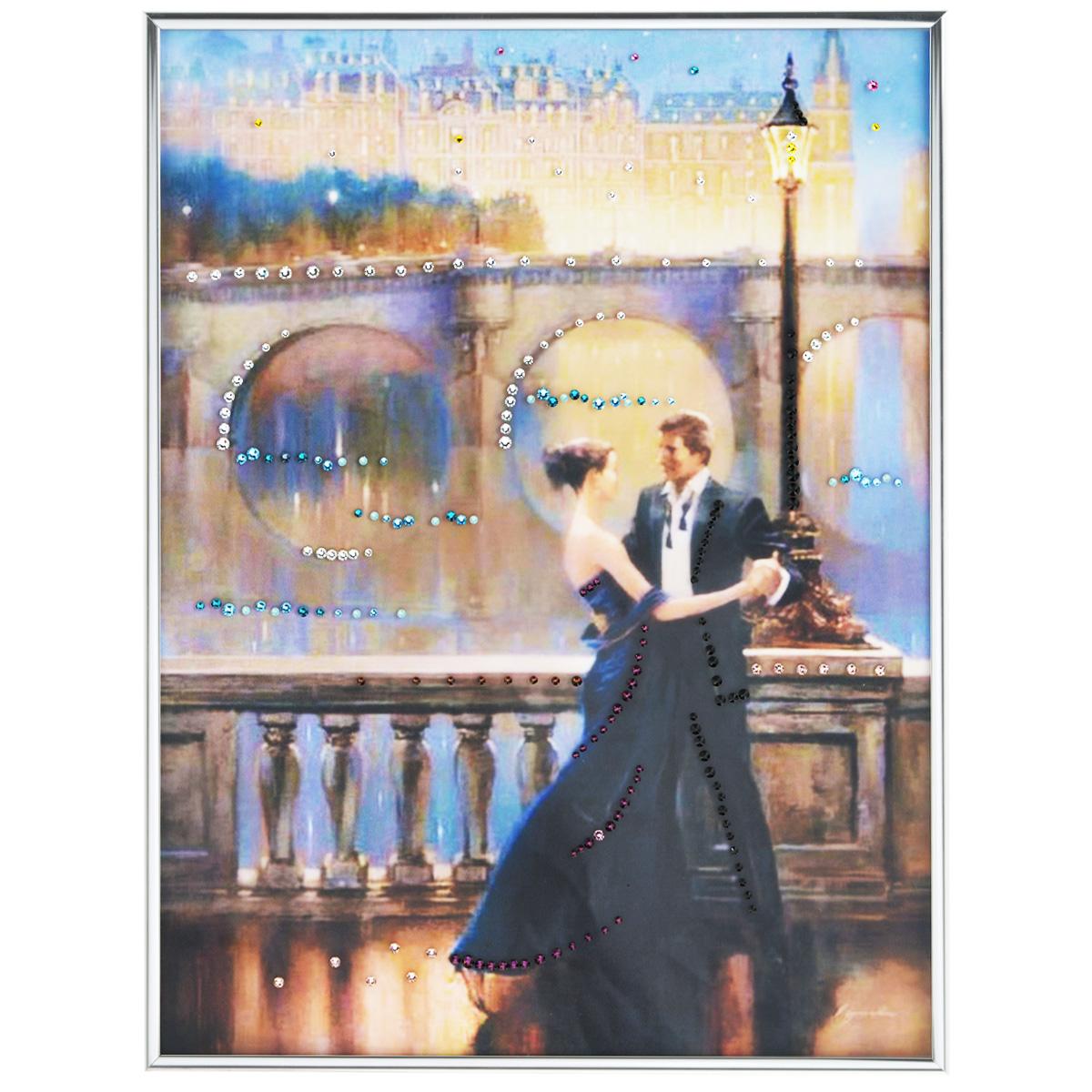 Картина с кристаллами Swarovski Танец любви, 30 см х 40 см1321Изящная картина в багетной раме, инкрустирована кристаллами Swarovski, которые отличаются четкой и ровной огранкой, ярким блеском и чистотой цвета. Красочное изображение овечки, расположенное под стеклом, прекрасно дополняет блеск кристаллов. С обратной стороны имеется металлическая петелька для размещения картины на стене. Картина с кристаллами Swarovski Танец любви элегантно украсит интерьер дома или офиса, а также станет прекрасным подарком, который обязательно понравится получателю. Блеск кристаллов в интерьере, что может быть сказочнее и удивительнее. Картина упакована в подарочную картонную коробку синего цвета и комплектуется сертификатом соответствия Swarovski.