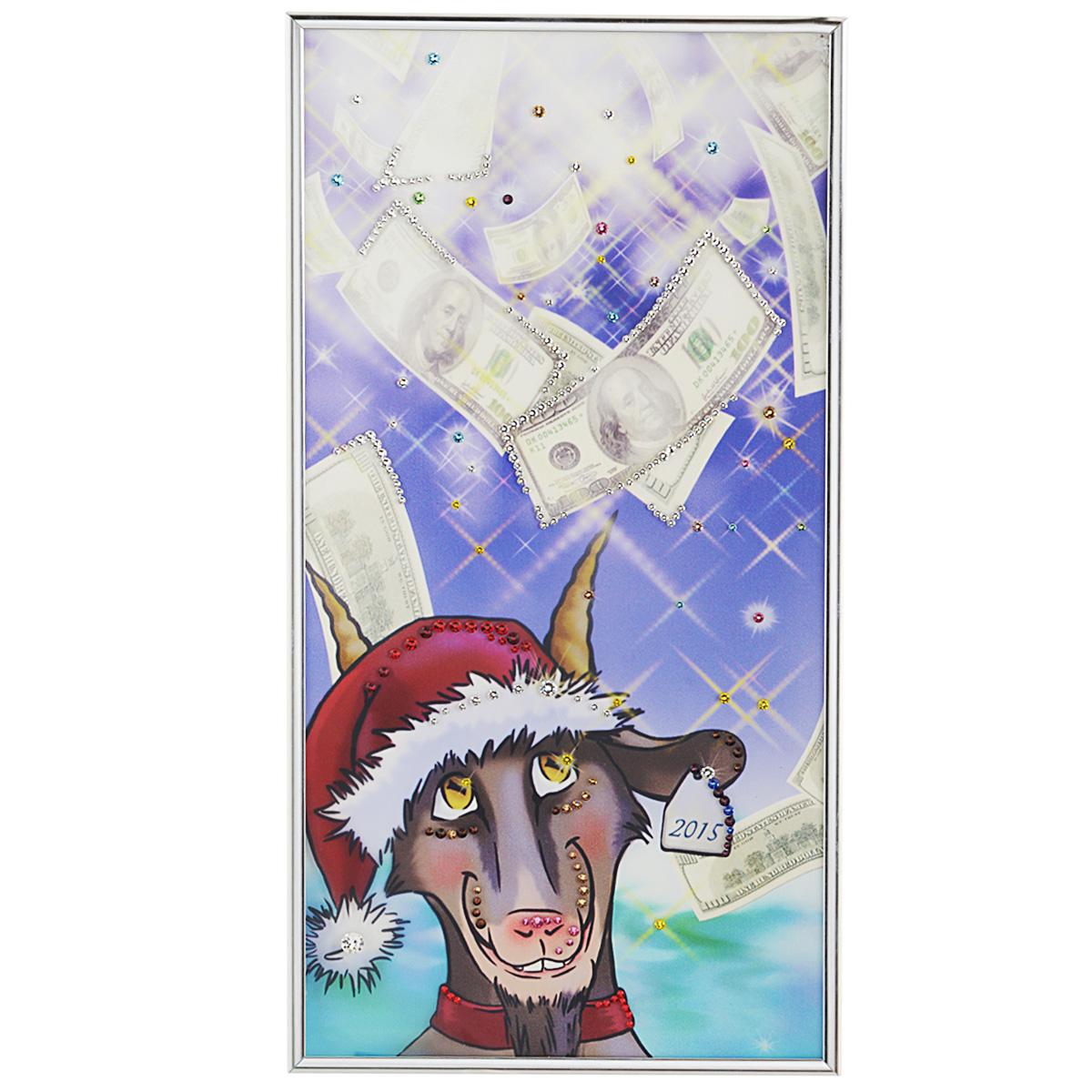 Картина с кристаллами Swarovski Про100козел, 20 см х 40 см1546Изящная картина в металлической раме, инкрустирована кристаллами Swarovski, которые отличаются четкой и ровной огранкой, ярким блеском и чистотой цвета. Красочное изображение козла, в новогодней шапке, расположенное под стеклом, прекрасно дополняет блеск кристаллов. С обратной стороны имеется металлическая петелька для размещения картины на стене. Картина с кристаллами Swarovski Про100козел элегантно украсит интерьер дома или офиса, а также станет прекрасным подарком, который обязательно понравится получателю. Блеск кристаллов в интерьере, что может быть сказочнее и удивительнее. Картина упакована в подарочную картонную коробку синего цвета и комплектуется сертификатом соответствия Swarovski.