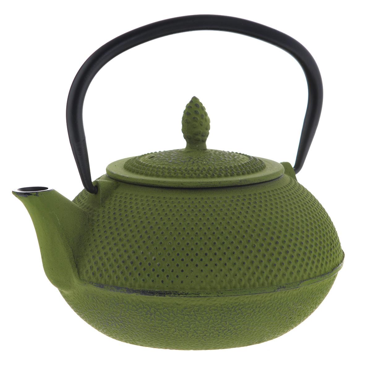 Чайник заварочный Mayer & Boch с ситечком, цвет: зеленый, 1 л23699Чайник заварочный Mayer & Boch изготовлен из чугуна - экологически чистого материала, который не тускнеет и не деформируется. Он долговечен и устойчив к воздействию высоких температур. Внешнее покрытие кремнийорганический термостойкий лак. Главное достоинство чугунного чайника - способность длительно сохранять тепло, чай в таком чайнике сохраняет свой вкус и свежий аромат долгое время. Чайник оснащен прочной металлической ручкой. В комплекте - ситечко из нержавеющей стали, которое задерживает чаинки и предотвращает их попадание в чашку. Восточный стиль, приятная цветовая гамма и оптимальный объем делают чайник Mayer & Boch удобным и оригинальным аксессуаром, который прекрасно подойдет как для ежедневного использования, так и для специальной чайной церемонии. Высота чайника (без учета крышки и ручки): 9 см. Диаметр чайника (по верхнему краю): 8 см. Диаметр основания чайника: 9,5 см. Размер ситечка: 8 см х 8 см х 6 см.