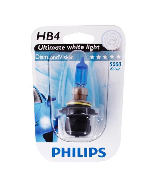 Лампа автомобильная галогенная Philips DiamondVision, для фар, цоколь HB4 (P22d), 12V, 55WS03301004Автомобильная галогенная лампа Philips DiamondVision произведена из запатентованного кварцевого стекла с УФ фильтром Philips Quartz Glass. Кварцевое стекло Philips в отличие от обычного твердого стекла выдерживает гораздо большее давление смеси газов внутри колбы, что препятствует быстрому испарению вольфрама с нити накаливания. Кварцевое стекло выдерживает большой перепад температур, при попадании влаги на работающую лампу изделие не взрывается и продолжает работать. Лампа DiamondVision с чистым белым светом, цветовой температурой 5000 K и стильным эффектом холодного белого ксенонового света идеально подходит для водителей, которые хотят придать индивидуальный стиль своему автомобилю. Автомобильные галогенные лампы Philips удовлетворят все нужды автомобилистов: дальний свет, ближний свет, передние противотуманные фары, передние и боковые указатели поворота, задние указатели поворота, стоп-сигналы, фонари заднего хода, задние противотуманные фонари, освещение номерного знака, задние габаритные/стояночные фонари, освещение салона.