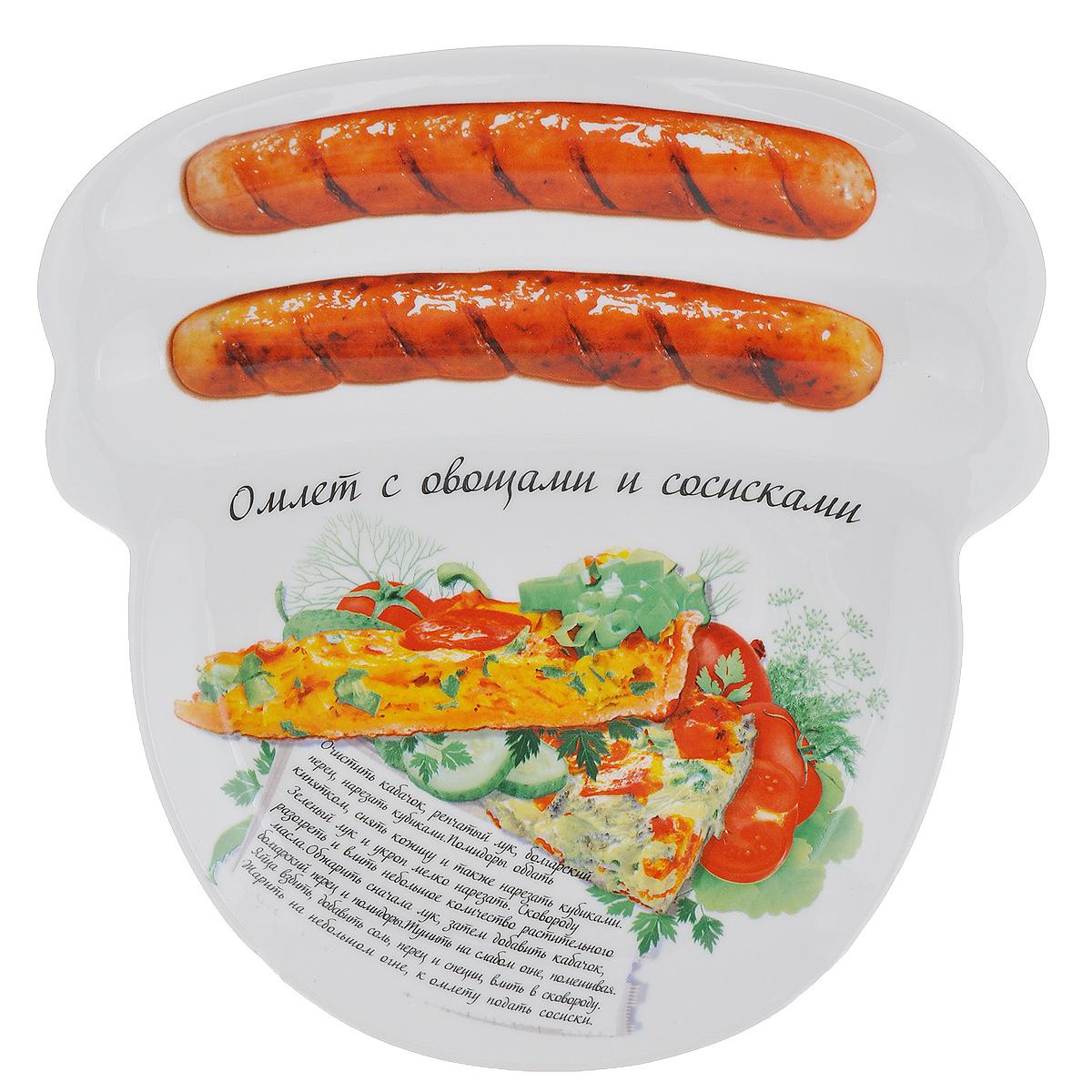 Блюдо для сосисок Larangе Омлет с овощами и сосисками, 23 х 22,7 х 1,6 см598-080Блюдо для сосисок Larange Омлет с овощами и сосисками изготовлено из высококачественной керамики. Изделие украшено изображением двух сосисок и рецепта омлета с овощами и сосисками. Тарелка имеет три отделения: два маленьких отделения для сосисок и одно большое отделение для яичницы или другого блюда. В комплект входят лучшие рецепты от шефа. Можно использовать в СВЧ печах, духовом шкафу, холодильнике. Можно мыть в посудомоечной машине. Не применять абразивные чистящие вещества. Размер блюда: 23 см х 22,7 см х 1,6 см.