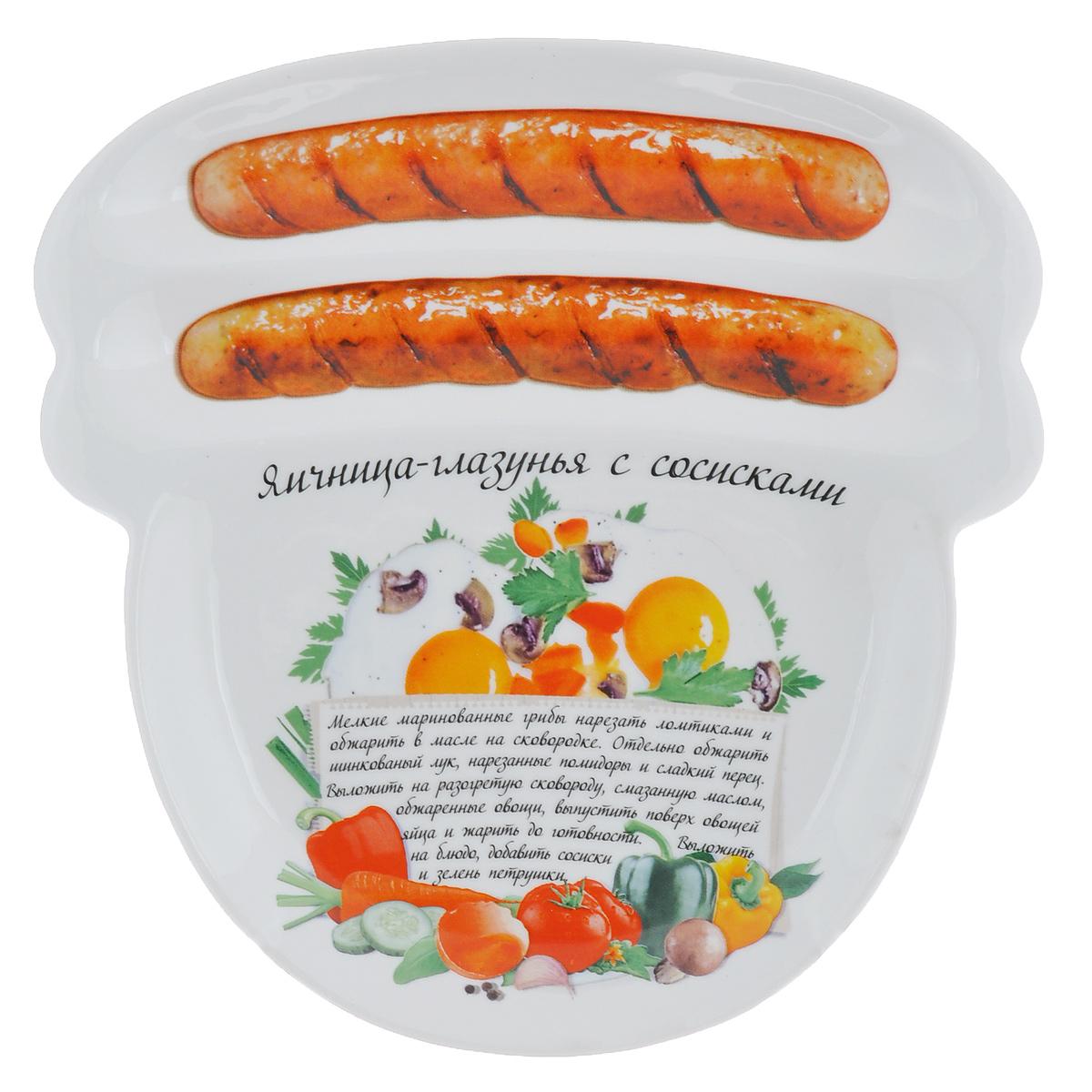 Блюдо для сосисок Larangе Яичница-глазунья с сосисками, 23 см х 22,7 см х 1,6 см598-075Блюдо для сосисок Larange Яичница-глазунья с сосисками изготовлено из высококачественной керамики. Изделие украшено изображением двух сосисок и рецепта яичницы-глазуньи с сосисками. Тарелка имеет три отделения: два маленьких отделения для сосисок и одно большое отделение для яичницы или другого блюда. В комплект входят лучшие рецепты от шефа. Можно использовать в СВЧ печах, духовом шкафу, холодильнике. Можно мыть в посудомоечной машине. Не применять абразивные чистящие вещества. Размер блюда: 23 см х 22,7 см х 1,6 см.