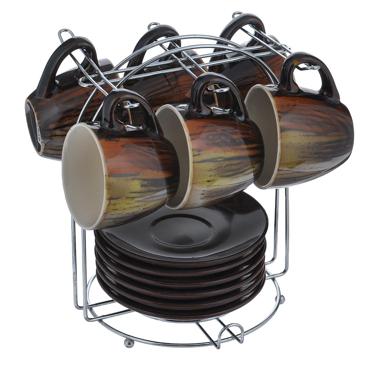 Набор кофейный Bekker Koch, цвет: коричневый, 13 предметовBK-6808Набор кофейный Bekker Koch изготовлен из жаропрочной керамики. В набор входит: шесть чашек, шесть блюдец и одна подставка. Подставка изготовлена из металла. Кофейный набор на подставке не займет много места. Набор кофейный Bekker Koch украсит ваш праздничный стол и порадует вас и ваших гостей необычным дизайном и изящными формами. Набор станет чудесным подарком к любому случаю. Можно мыть в посудомоечной машите. Диаметр чашки: 6,5 см. Высота чашки: 6 см. Диаметр блюдца: 11 см. Объем чашки: 90 мл. Размер подставки: 12 см х 16 см х 17 см.