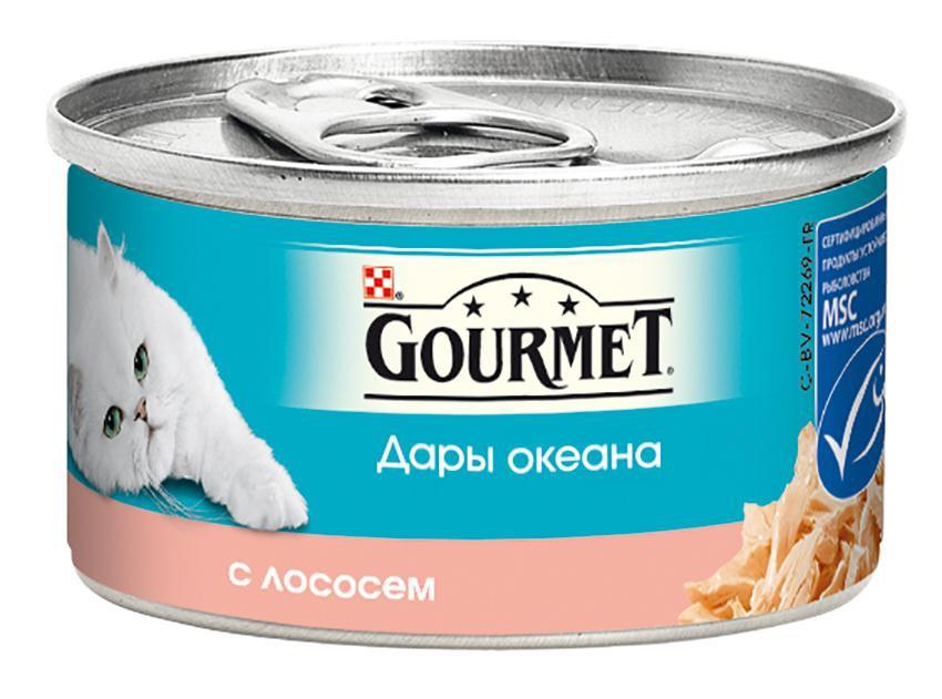 Консервы для кошек Gourmet Дары океана, с лососем, 85 г12263799Корм Gourmet Дары океана - это изысканное разнообразие рыбных блюд, которыми вы можете побаловать вашего любимца. Ваша кошка высоко оценит нежные кусочки из рыбы, приготовленные в аппетитном соусе. Состав: рыба и продукты переработки рыбы (в том числе лосось 4%), экстракт растительного белка, мясо и продукты переработки мяса 2,5%, рыбий жир, растительное масло, сорбитол, сахара, минеральные вещества, красители, витамины. Добавленные вещества: МЕ/кг: витамин A 1960, витамин D3 140, мг/кг: железо 19, йод 0,15, медь 0,93, марганец, 1,3, цинк 19. Гарантируемые показатели: влажность 81,3%, белок 10,6%, жир 2,5%, сырая зола 1,9%, сырая клетчатка 0,8%. Товар сертифицирован.