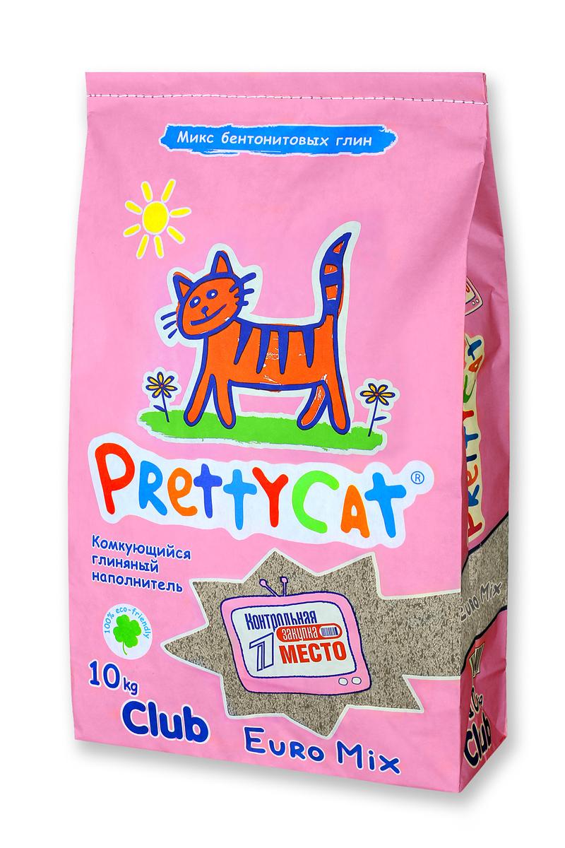 """Наполнитель для кошачьих туалетов PrettyCat """"Euro Mix"""", комкующийся, 10 кг. 620291"""