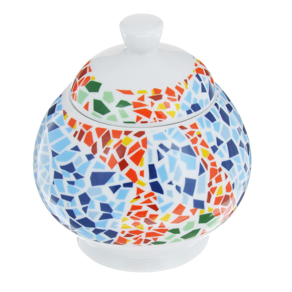Сахарница Lillo Мозаика, 250 мл93522Великолепная сахарница Lillo Мозаика выполнена из высококачественного фарфора. Сахарница имеет изящную форму и декорирована разноцветной мозаикой. Лаконичность и изящество форм придают сахарнице неповторимую изысканность. Эксклюзивный дизайн, эстетичность и функциональность сахарницы делает ее незаменимой на любой кухне. Можно мыть в посудомоечной машине. Диаметр сахарницы (по верхнему краю): 5 см. Высота сахарницы (без учета крышки): 7,5 см. Объем сахарницы: 250 мл.