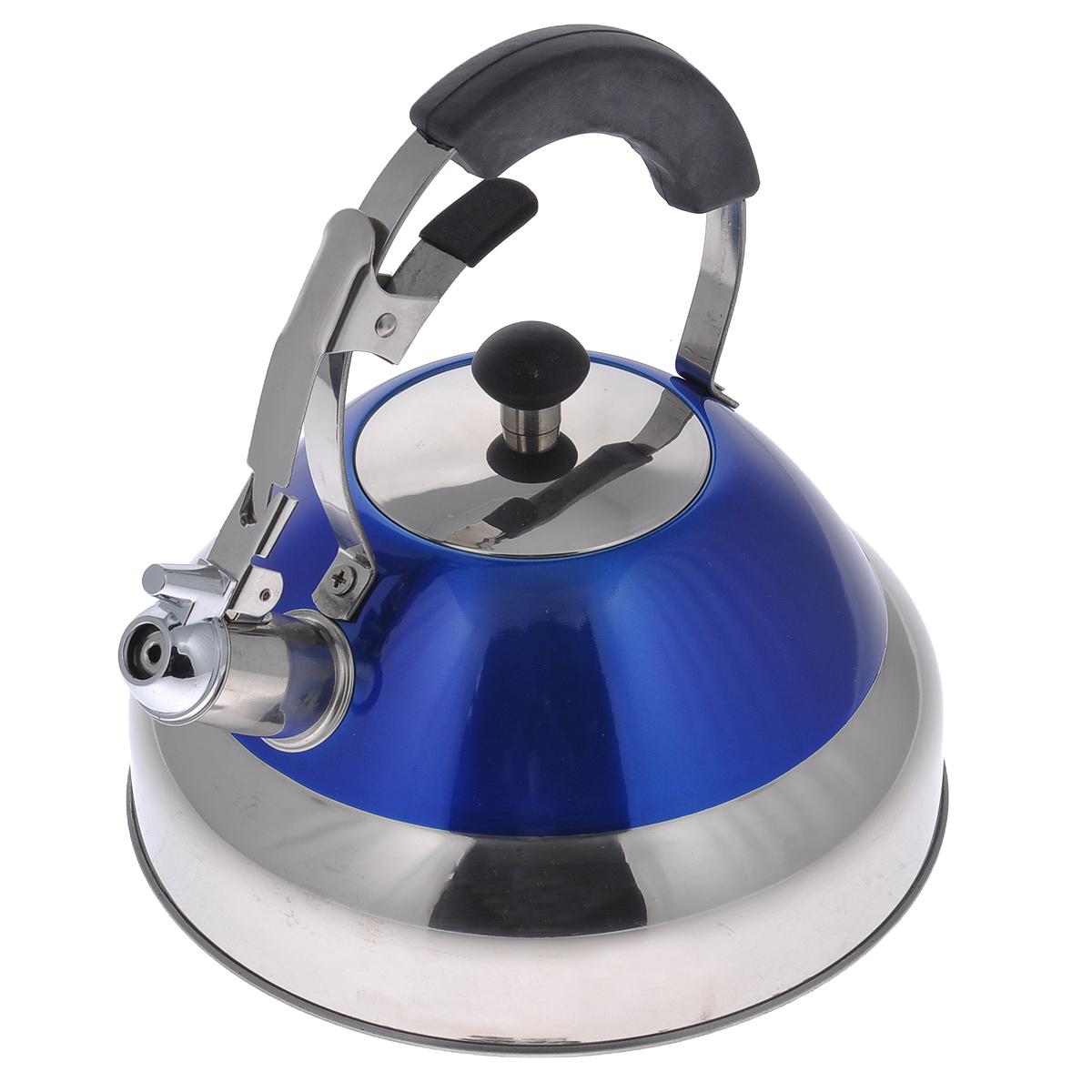 Чайник Bekker De Luxe со свистком, цвет: синий, 2,7 л. BK-S423BK-S423Чайник Bekker De Luxe выполнен из высококачественной нержавеющей стали, что обеспечивает долговечность использования. Внешнее цветное эмалевое покрытие придает приятный внешний вид. Металлическая фиксированная ручка с силиконовым покрытием делает использование чайника очень удобным и безопасным. Чайник снабжен свистком и устройством для открывания носика. Изделие оснащено капсулированным дном для лучшего распространения тепла. Можно мыть в посудомоечной машине. Пригоден для всех видов плит кроме индукционных. Высота чайника (без учета крышки и ручки): 11 см. Высота чайника (с учетом ручки): 24 см. Диаметр основания: 22,5 см.
