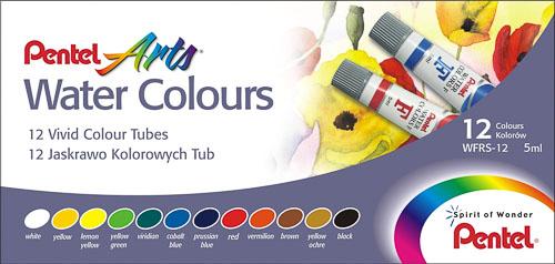 Акварель Pentel Water Colours, 12 цветовWFRS-12Акварельные краски Pentel Water Colours помогут воплотить в жизнь любые художественные замыслы на занятиях в школах, детских садах, художественных кружках или дома. Яркие насыщенные цвета делают процесс рисования более увлекательным. В набор входят краски 12 цветов в пластиковых тубах. Краски не выгорают, не трескаются при высыхании, легко смешиваются. Кисточка в комплект не входит. Количество цветов: 12. Размер тюбика: 7 см х 1,5 см.