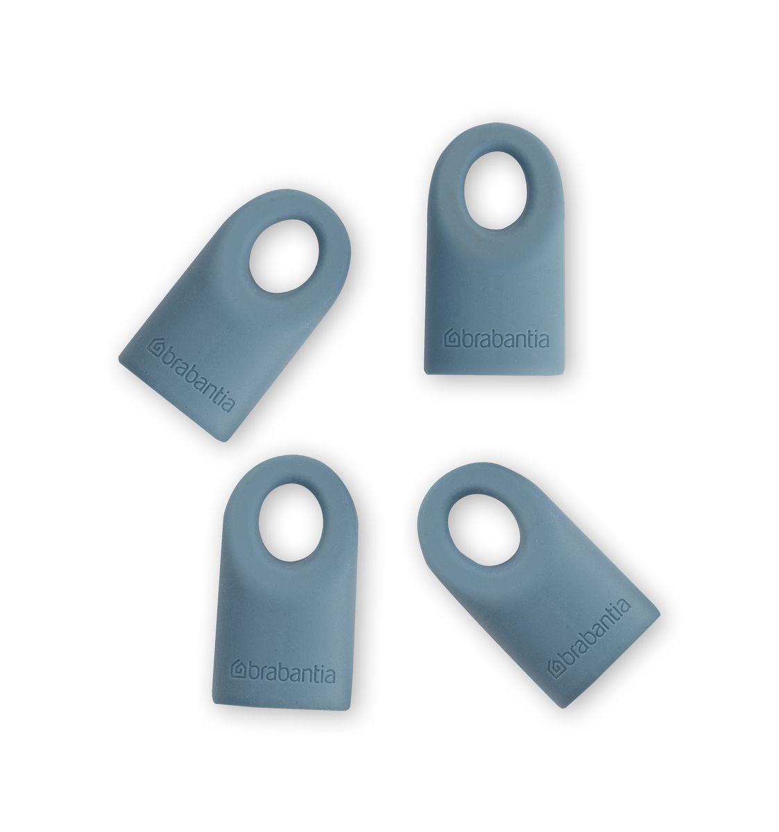 Силиконовые колпачки Brabantia Accent, цвет: голубой, 4 шт464027Силиконовые колпачки Brabantia Accent предназначены для кухонных принадлежностей линии Accent. Просто наденьте колпачок на нужную кухонную принадлежность. Используя съемные колпачки разных цветов, вы можете создавать свой оригинальный стиль. Колпачки оснащены специальными отверстиями для крючков. Длина колпачка: 4 см.