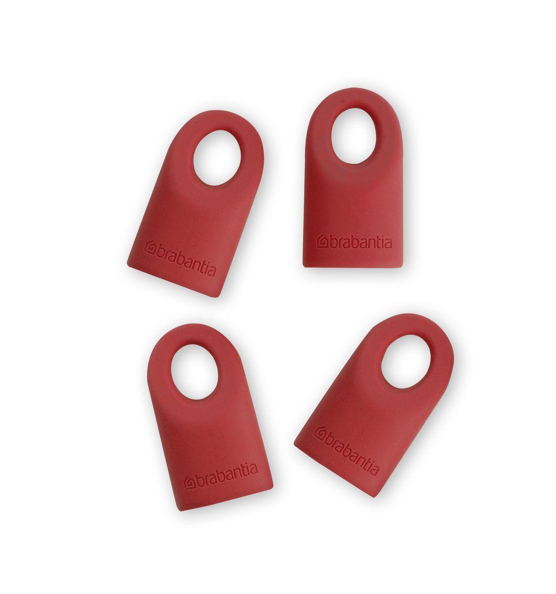 Силиконовые колпачки Brabantia Accent, цвет: красный, 4 шт464003Силиконовые колпачки Brabantia Accent предназначены для кухонных принадлежностей линии Accent. Просто наденьте колпачок на нужную кухонную принадлежность. Используя съемные колпачки разных цветов, вы можете создавать свой оригинальный стиль. Колпачки оснащены специальными отверстиями для крючков. Длина колпачка: 4 см.