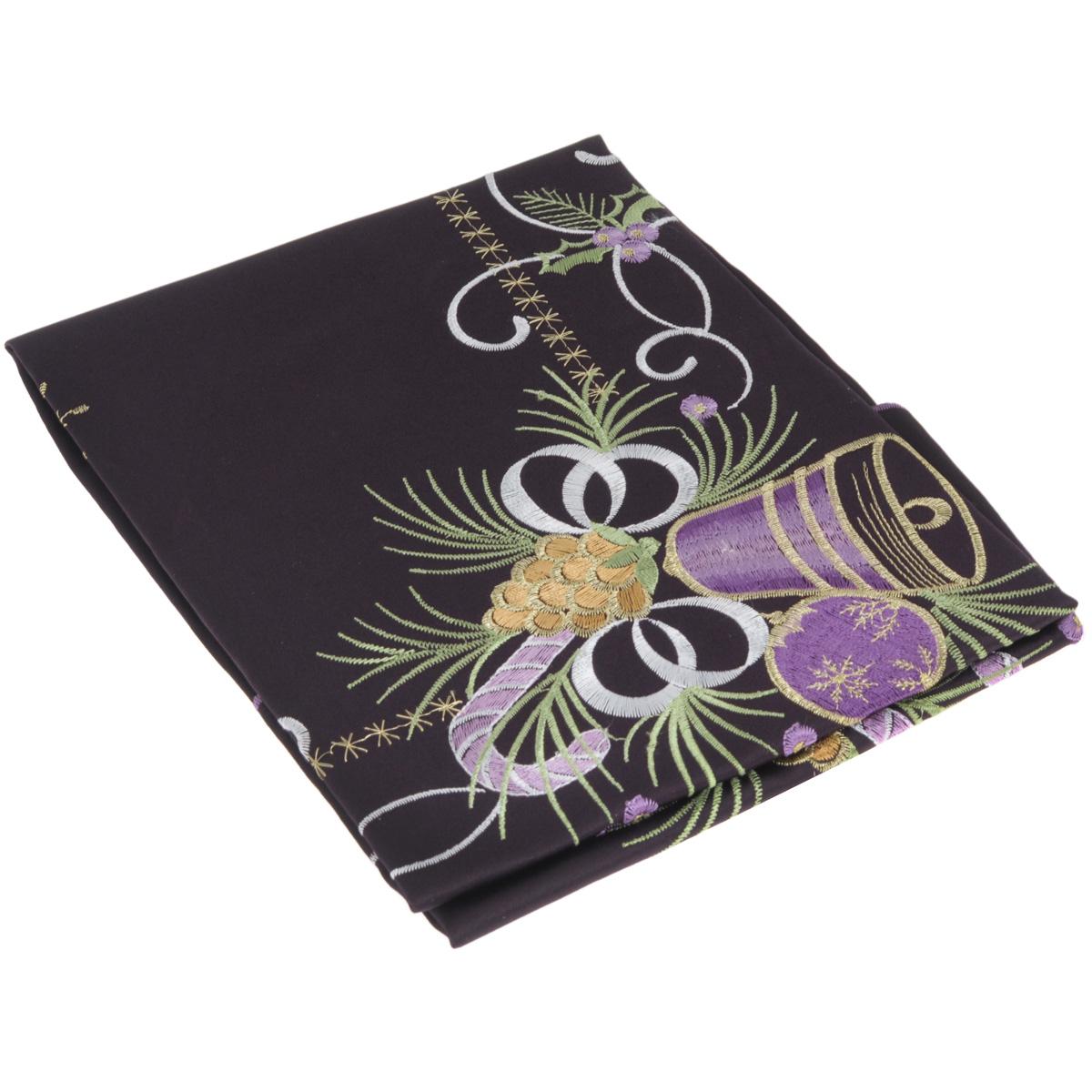 Скатерть Home Queen Колокольчик, квадратная, цвет: фиолетовый, 85 x 85 см63966Новогодняя скатерть Queen Колокольчик изящно украсит праздничный стол. Изделие выполнено из плотной полиэстеровой ткани, украшенной яркой декоративной ажурной вышивкой в виде колокольчиков. Изделие можно использовать поверх однотонной скатерти или в качестве самостоятельного покрытия на стол. Скатерть Queen Колокольчик создаст новогоднее настроение и станет прекрасным дополнением интерьера гостиной, кухни или столовой.
