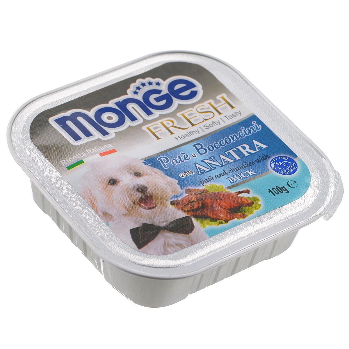 Консервы для собак Monge Fresh, с уткой, 100 г70013048Консервы для собак Monge Fresh - это полнорационный корм для собак. Паштет с мясом утки. Состав: свежее мясо 80% (содержание утки мин. 10%), минеральные вещества, витамины. Технологические добавки: загустители и желирующие вещества. Анализ компонентов: белок 9%, жир 7%, сырая клетчатка 0,5%, сырая зола 1,2%, влажность 82%. Витамины и добавки на 1 кг: витамин А 3000МЕ, витамин D3 400 МЕ, витамин Е 15 мг. Товар сертифицирован.