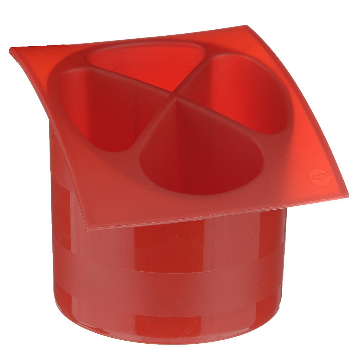 Подставка для столовых приборов Cosmoplast, цвет: красный, диаметр 14 см2140Подставка для столовых приборов Cosmoplast, выполненная из высококачественного пластика, станет полезным приобретением для вашей кухни. Подставка имеет четыре отделения для разных видов столовых приборов. Дно отделений оснащено отверстиями. Подставка вставляется в емкость, предназначенную для стекания воды. Подставка Cosmoplast удобна в использовании и имеет яркий современный дизайн, который станет ярким акцентом в интерьере вашей кухни. Можно мыть в посудомоечной машине. Диаметр основания: 13,5 см. Размер подставки: 15,5 см х 16,5 см х 14,5 см.