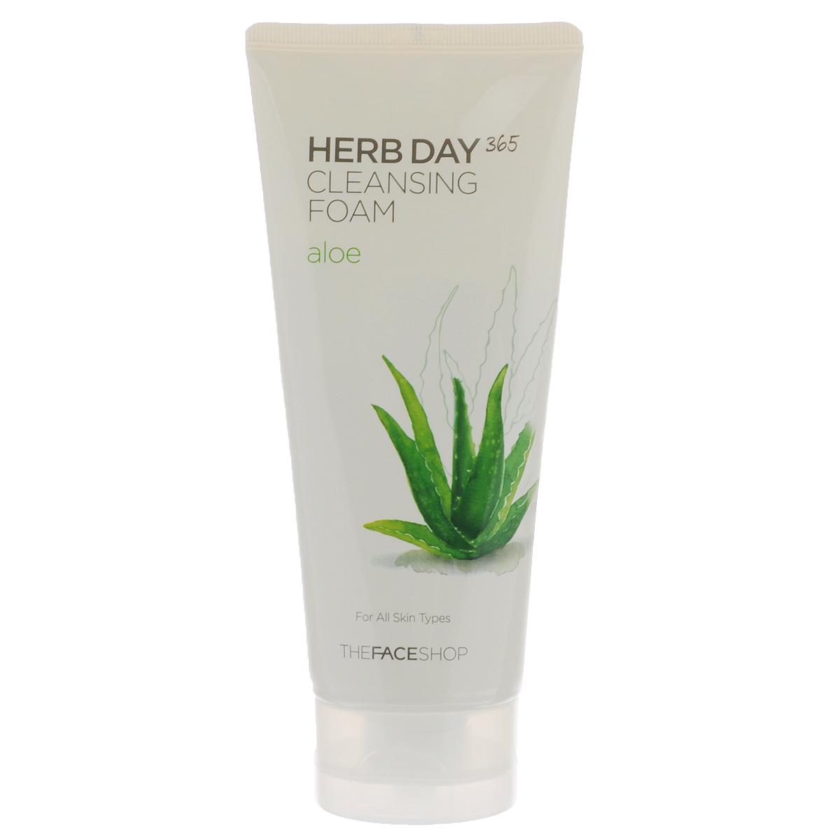 The Face Shop Пенка для умывания Herb Day 365, очищающая, с экстрактом алое, для всех типов кожи, 170 млУТ000000799Пенка для умывания Herb Day 365 содержит экстракт алоэ вера и комплекс экстрактов лекарственных трав. Мягко очищает кожу лица, мягко удаляет мертвые клетки и загрязнения пор. Эффективно успокаивает, обладает осветляющим эффектом и увлажняет кожу лица. Экстракт алоэ вера содержит огромное количество биологически активных веществ, из которых наиболее важными для кожи являются: каротин, витамины С и Е, защищающие кожу от повреждающего действия свободных радикалов и преждевременного старения; комплекс полисахаров с высокой влагоудерживающей и иммуностимулирующей способностью; салициловая кислота, эфирные масла и стерины, оказывающие антибактериальное и противовоспалительное действие. Товар сертифицирован.