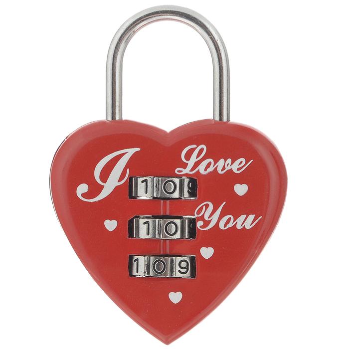 """Эврика Замок для влюбленных """"Сердце"""", с кодовым набором, цвет: красный 93520"""