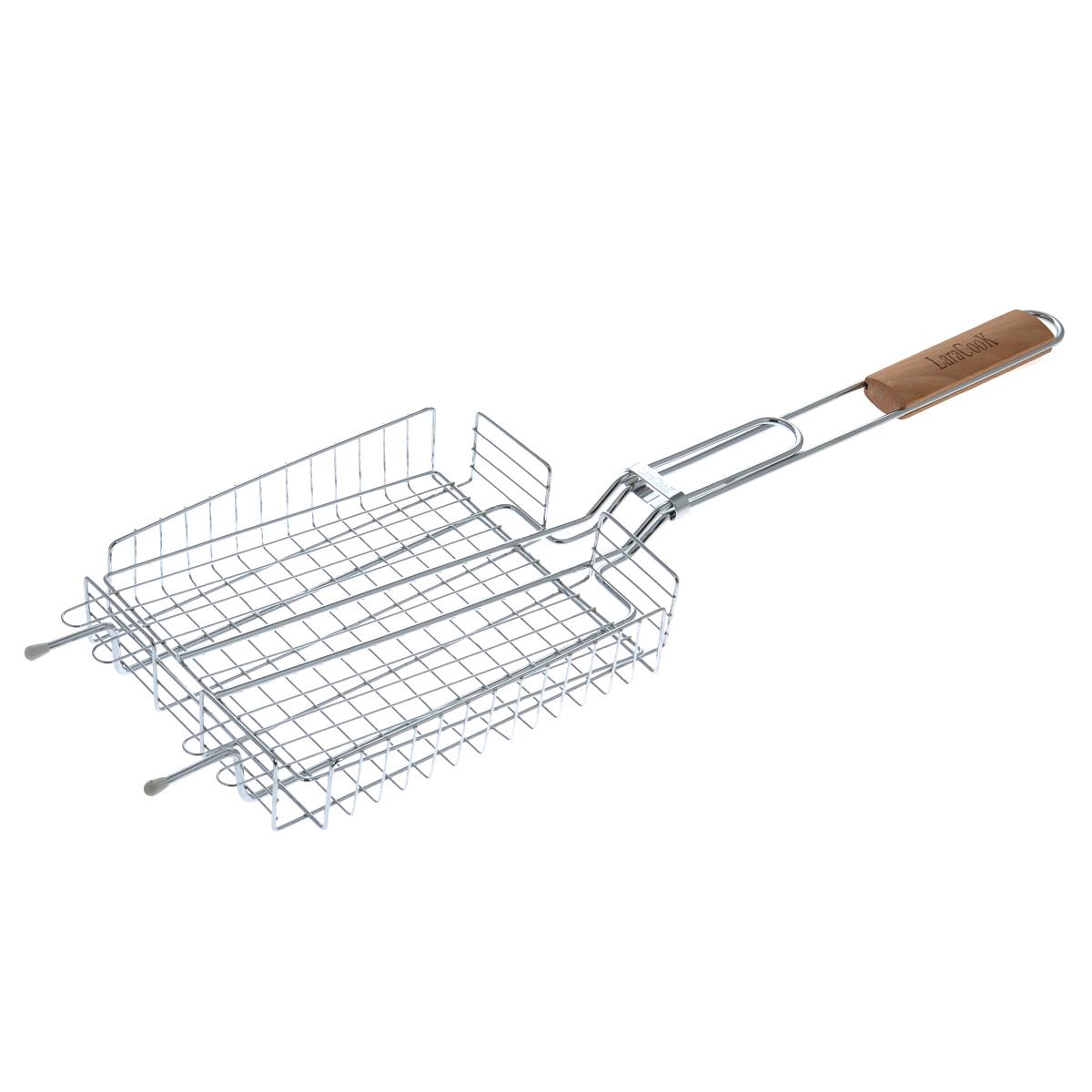 Решетка-гриль глубокая Laracook, 25 см х 20 смLC-1300Решетка-гриль Laracook изготовлена из нержавеющей стали. Приготовление вкусных блюд из рыбы, мяса или птицы на пикнике становится еще более быстрым и удобным с использованием решетки-гриль. Верхняя прижимная сетка решетки регулируется по высоте и позволяет готовить продукты разной толщины. Высокие бортики не дадут упасть продуктам на угли при перевороте решетки. Решетка-гриль отлично подходит для мангала. Удобная для обхвата деревянная ручка помогает легче переворачивать решетку и делает ее использование более безопасным. Размер решетки: 25 см х 20 см х 5 см. Длина ручки: 37 см.