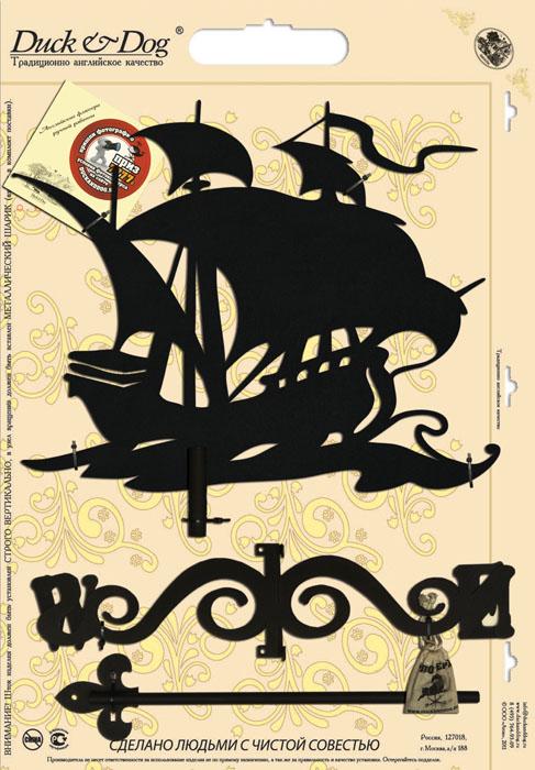Флюгер Duck & Dog Корабль, 50 см х 100 смБФ.70015Флюгер Duck & Dog Корабль изготовлен из сплавов прочных металлов и покрыт специальной порошковой краской, что гарантирует долговечность срока службы. Флюгер поворачивается под воздействием ветра, а также указывает его направление. Такой метеоприбор отличается заметным изяществом. Флюгера - это украшение дома, некий элемент декора. Также их помещают на любые загородные сооружения, бани, беседки и т.д. В комплекте крепежные элементы. Размер фигурной части: 40 см х 50 см.