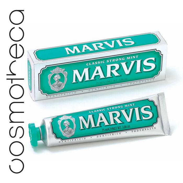 Marvis Зубная паста Классическая Насыщенная Мята 75 млSC-FM20101Зубная паста Классическая Насыщенная Мята обладает заманчивым ароматом мяты и дает новое измерение длительной свежести. Фтор способствует укреплению зубной эмали, подавляя образование кислот бактериями зубного налета. Мягкие абразивные вещества нежно удаляют налет с зубов, не царапая эмаль, а мягко полируя ее. Целлюлозная смола предотвращает расслоение и затвердевание зубной пасты.