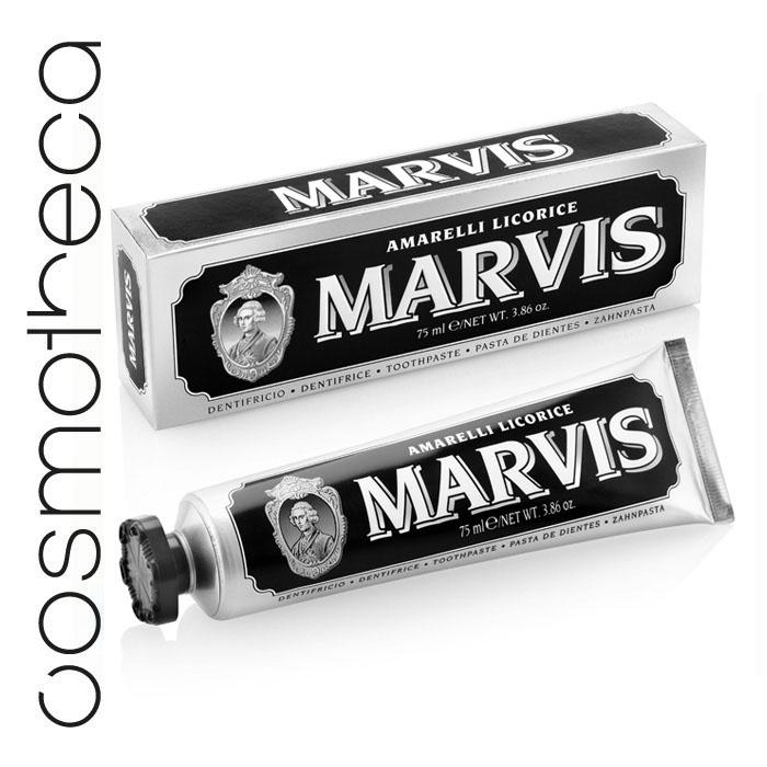 Marvis Зубная паста Лакрица Амарелли 75 мл411084Зубная паста Лакрица Амарелли освежает дыхание в течение всего дня, предотвращает появление кариеса, удаляет зубной налет, мягко полирует зубы, не повреждая эмаль.