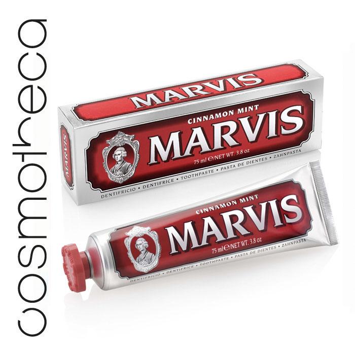 Marvis Зубная паста Мята и Корица 75 мл5010777142037Зубная паста Мята и Корица -это вкус экзотической сладости корицы и освежающей мяты. Предотвращая разрушение зубов, удаляет камень и зубной налет, мягко полируя зубы, не повреждая эмаль.