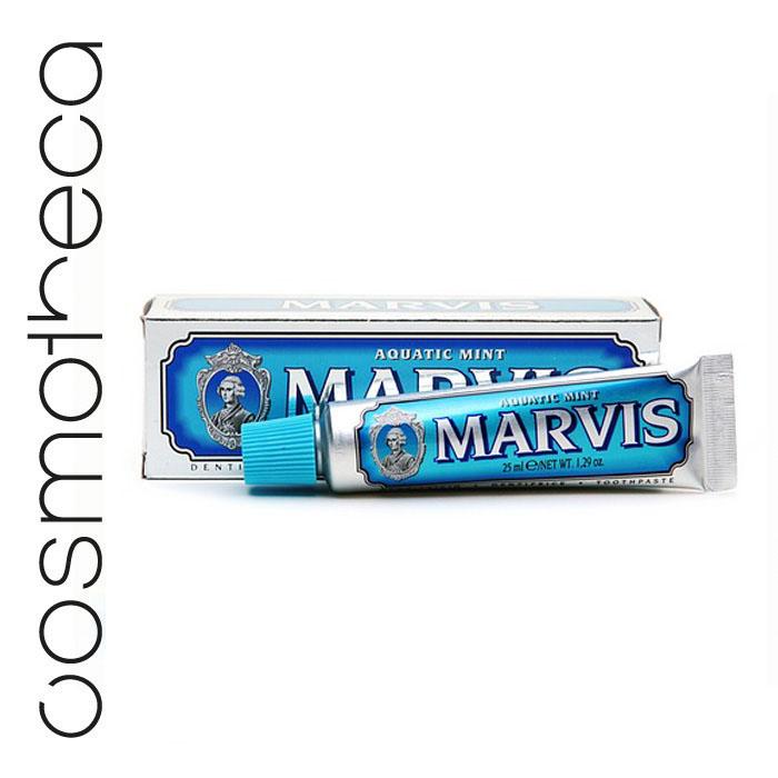 Marvis Зубная паста Cвежая Мята 25 млSB 506Зубная паста Cвежая Мята с деликатным мятным вкусом освежает дыхание в течение всего дня, предотвращая разрушение зубов, удаляет камень и зубной налет, мягко полируя зубы, не повреждая эмаль.