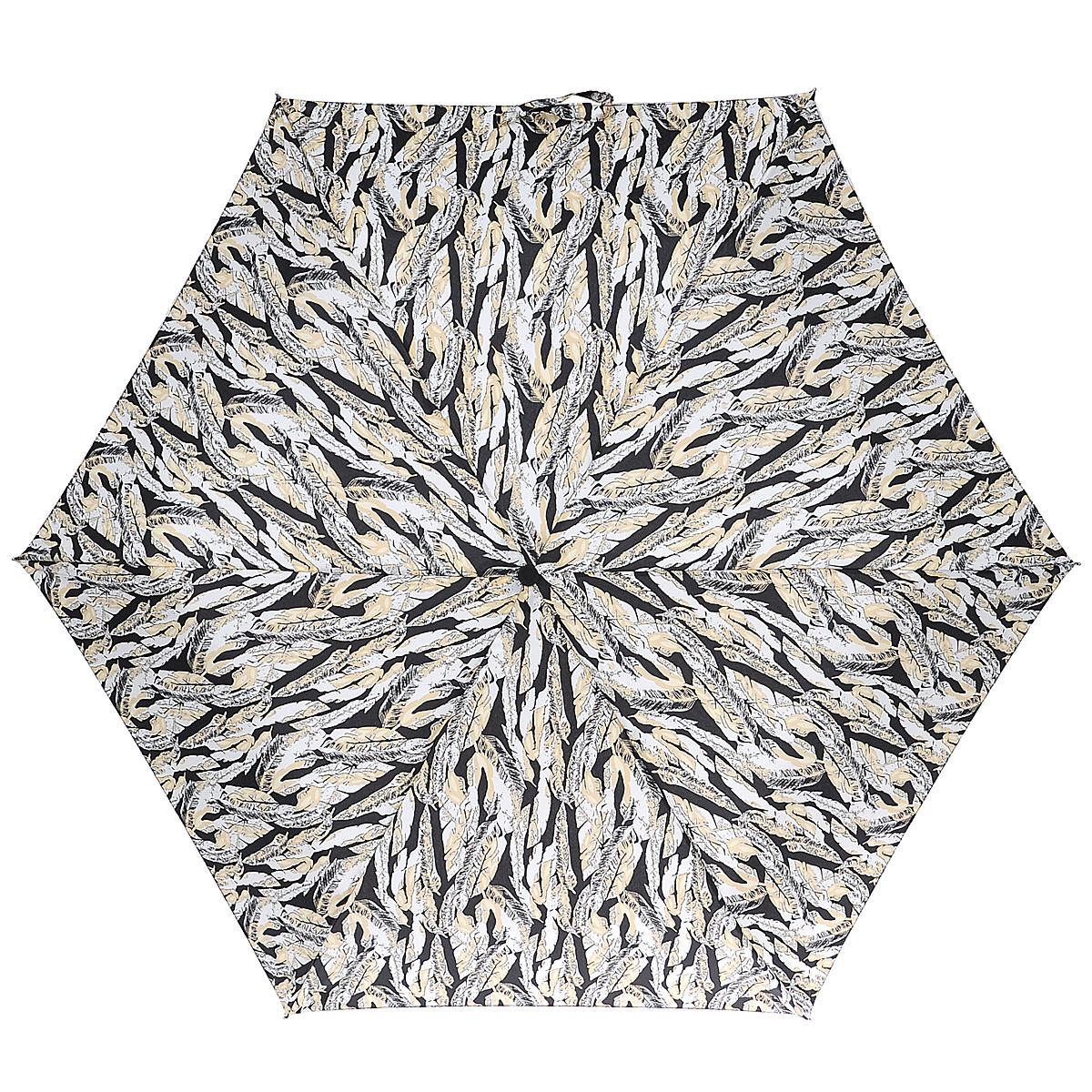 """Зонт женский Fulton Scattered Feather, механический, 3 сложения, цвет: черный, бежевый. L553L553_Черный_ПерьяСтильный зонт Fulton """"Scattered Feather"""" защитит от непогоды, а его компактный размер позволит вам всегда носить его с собой. """"Ветростойкий"""" алюминиевый каркас в 3 сложениясостоит из шести спиц с элементами из фибергласса, зонт оснащен удобной рукояткой из дерева. Купол зонта выполнен из прочного полиэстера и оформлен цветочным принтом в виде перьев. На рукоятке для удобства есть небольшой шнурок-резинка, позволяющий надеть зонт на руку тогда, когда это будет необходимо. К зонту прилагается чехол на липучке. Зонт механического сложения: купол открывается и закрывается вручную, стержень также складывается вручную до характерного щелчка. Характеристики: Материал: алюминий, фибергласс, пластик, полиэстер. Длина зонта в сложенном виде: 22,5 см. Длина ручки (стержня) в раскрытом виде: 52 см."""