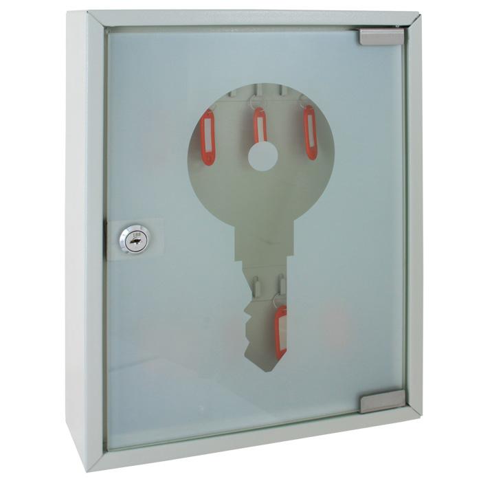 Ящик для 20 ключей Office-Force, цвет: серый. 20084264201Ящик для 20 ключей Office-Force выполнен из прочного металла и оснащен прозрачной дверкой. Ящик надежно закрывается на замок и позволит вам сохранить ваши ключи в порядке и безопасности.Стальной корпус покрашен методом напыления краски в серый цвет. На задней стенке расположены отверстия для крепления бокса к стене. Оснащен прочными металлическими крючками для удобной систематизации ключей. В комплект входят 2 ключа, 20 бирок, наклейки с номерами, 2 дюбеля с шурупами для крепления к стене. Благодаря ящику Office-Force ключи не потеряются и всегда будут на своих местах.
