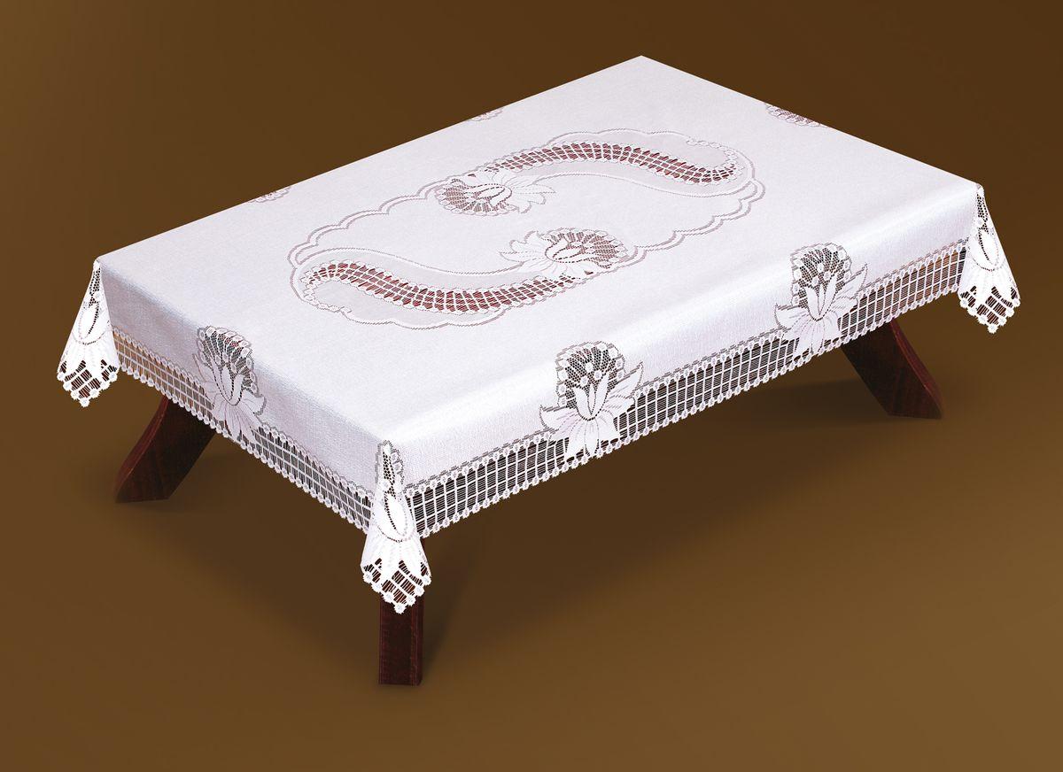 Скатерть Haft, прямоугольная, цвет: белый, 130 x 180 см. 46080-130SS 4041Великолепная прямоугольная скатерть Haft, выполненная из полиэстера, органично впишется в интерьер любого помещения, а оригинальный дизайн удовлетворит даже самый изысканный вкус. Скатерть изготовлена из сетчатого материала с ажурным цветочным рисунком. Скатерть Haft создаст праздничное настроение и станет прекрасным дополнением интерьера гостиной, кухни или столовой.