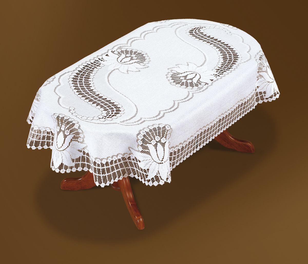 Скатерть Haft, овальная, цвет: белый, 250x 140 см. 46081-140VT-1520(SR)Великолепная овальная скатерть Haft, выполненная из полиэстера, органично впишется в интерьер любого помещения, а оригинальный дизайн удовлетворит даже самый изысканный вкус. Скатерть изготовлена из сетчатого материала с ажурным рисунком. Края скатерти закруглены.Скатерть Haft создаст праздничное настроение и станет прекрасным дополнением интерьера гостиной, кухни или столовой.