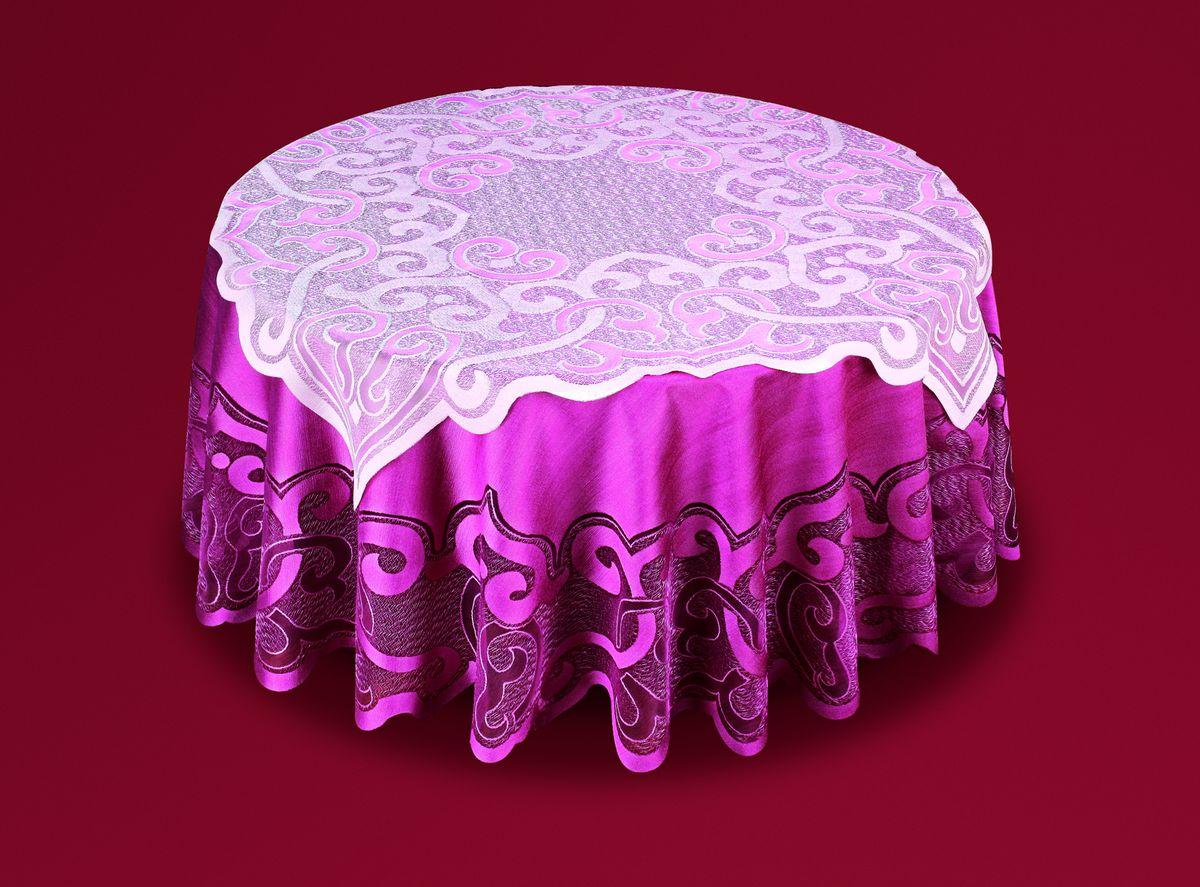 Скатерть Haft, с накладкой, цвет: бордовый, розовый, диаметр 200 см. 50373-20050373-200Великолепная круглая скатерть Haft, выполненная из полиэстера, органично впишется в интерьер любого помещения, а оригинальный дизайн удовлетворит даже самый изысканный вкус. Скатерть изготовлена из плотного материала с сетчатым ажурным цветочным рисунком по краям. В комплекте квадратная накладка, декорированная ажурным цветочным рисунком. Комплект Haft создаст праздничное настроение и станет прекрасным дополнением интерьера гостиной, кухни или столовой. Диаметр скатерти: 200 см. Размер накладки: 100 см х 100 см.