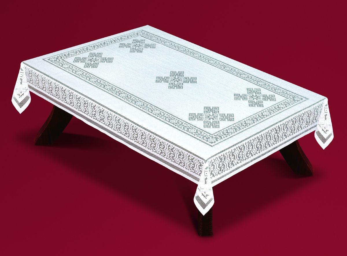 Скатерть Haft, прямоугольная, цвет: белый, 130 x 180 см. 59350-13059350-130Великолепная прямоугольная скатерть Haft, выполненная из полиэстера, органично впишется в интерьер любого помещения, а оригинальный дизайн удовлетворит даже самый изысканный вкус. Скатерть изготовлена из сетчатого материала с ажурным орнаментом. Скатерть Haft создаст праздничное настроение и станет прекрасным дополнением интерьера гостиной, кухни или столовой.