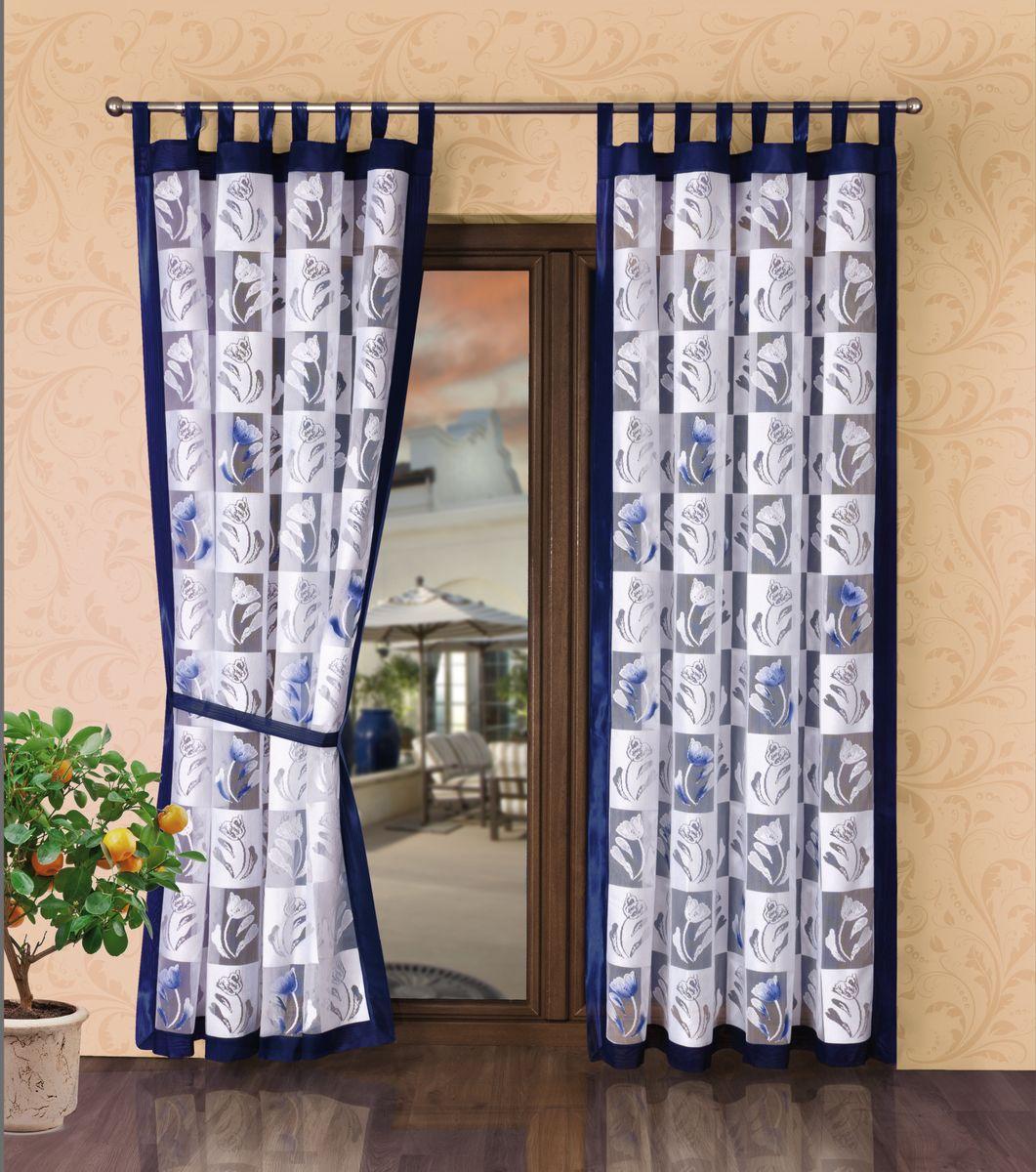 """Комплект штор Wisan """"Zaslony"""", на петлях, цвет: белый, синий, высота 245 см 1525"""