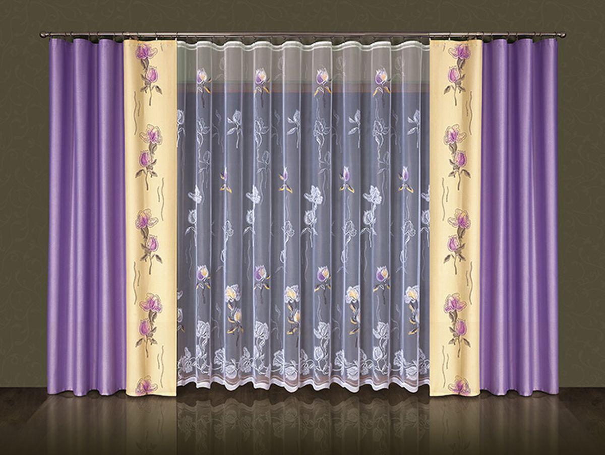 Комплект штор Wisan Amelia, на ленте, цвет: сиреневый, бежевый, белый, высота 250 см5383Комплект штор Wisan Amelia выполненный из полиэстера, великолепно украсит любое окно. В комплект входят 2 шторы и тюль. Цветочный узор придает комплекту особый стиль и шарм. Тонкое жаккардовое плетение, нежная цветовая гамма и роскошное исполнение - все это делает шторы Wisan Amelia замечательным дополнением интерьера помещения. Комплект оснащен шторной лентой для красивой сборки. В комплект входит: Штора - 2 шт. Размер (ШхВ): 145 см х 250 см. Тюль - 1 шт. Размер (ШхВ): 500 см х 250 см. Фирма Wisan на польском рынке существует уже более пятидесяти лет и является одной из лучших польских фабрик по производству штор и тканей. Ассортимент фирмы представлен готовыми комплектами штор для гостиной, детской, кухни, а также текстилем для кухни (скатерти, салфетки, дорожки, кухонные занавески). Модельный ряд отличает оригинальный дизайн, высокое качество. Ассортимент продукции постоянно пополняется.