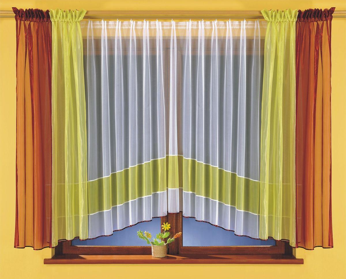 Комплект штор для кухни Wisan Tamara, на ленте, цвет: белый, зеленый, бордовый, высота 170 см5759Комплект штор Wisan Tamara выполненный из полиэстера, великолепно украсит кухонное окно. В комплект входят 2 шторы и тюль. Оригинальный и яркий дизайн придают комплекту особый стиль и шарм. Тонкое плетение, нежная цветовая гамма и роскошное исполнение - все это делает шторы Wisan Tamara замечательным дополнением интерьера помещения. Комплект оснащен шторной лентой для красивой сборки. В комплект входит: Тюль - 1 шт. Размер (ШхВ): 400 см х 170 см. Штора - 2 шт. Размер (ШхВ): 140 см х 170 см. Фирма Wisan на польском рынке существует уже более пятидесяти лет и является одной из лучших польских фабрик по производству штор и тканей. Ассортимент фирмы представлен готовыми комплектами штор для гостиной, детской, кухни, а также текстилем для кухни (скатерти, салфетки, дорожки, кухонные занавески). Модельный ряд отличает оригинальный дизайн, высокое качество. Ассортимент продукции постоянно пополняется.