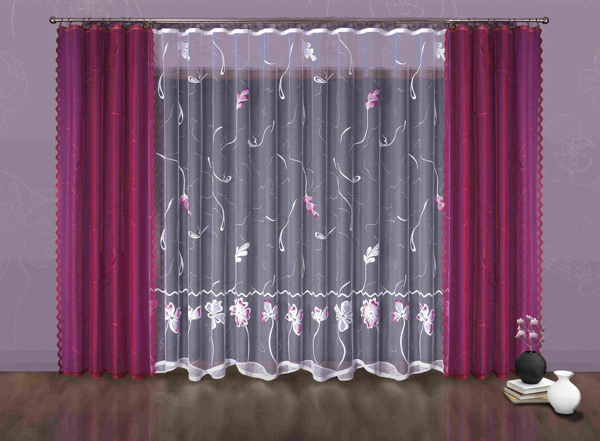 Комплект штор Wisan Juiza, на ленте, цвет: малиновый, белый, высота 250 см6885Комплект штор Wisan Juiza выполненный из полиэстера, великолепно украсит любое окно. Тонкое плетение, оригинальный дизайн привлекут к себе внимание и органично впишутся в интерьер. В комплект входят 2 шторы и тюль. Кружевной цветочный узор придает комплекту особый стиль и шарм. Тонкое жаккардовое плетение, нежная цветовая гамма и роскошное исполнение - все это делает шторы Wisan Juiza замечательным дополнением интерьера помещения. Комплект оснащен шторной лентой для красивой сборки. В комплект входит: Штора - 2 шт. Размер (ШхВ): 150 см х 250 см. Тюль - 1 шт. Размер (ШхВ): 500 см х 250 см. Фирма Wisan на польском рынке существует уже более пятидесяти лет и является одной из лучших польских фабрик по производству штор и тканей. Ассортимент фирмы представлен готовыми комплектами штор для гостиной, детской, кухни, а также текстилем для кухни (скатерти, салфетки, дорожки, кухонные занавески). Модельный ряд отличает оригинальный дизайн,...