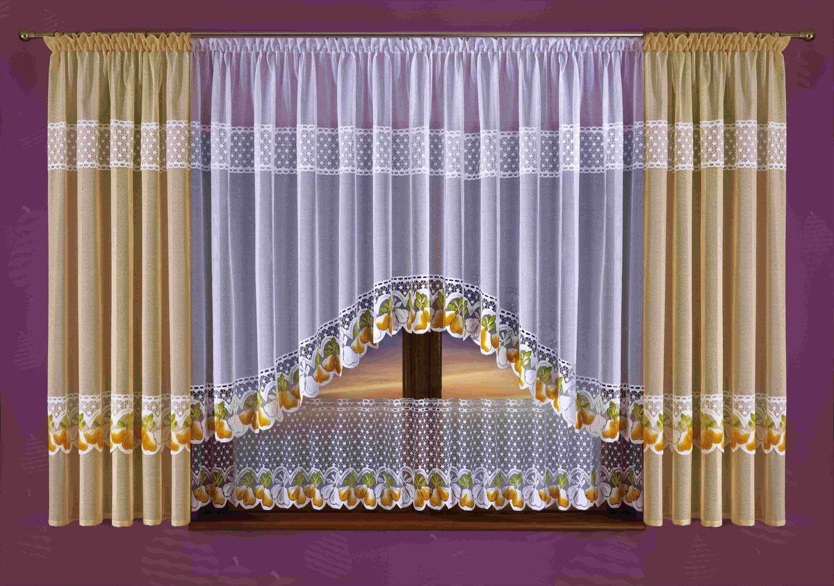 Комплект штор на кухню Wisan Qruszki, на ленте, цвет: бежевый, белый, высота 190 см10503Комплект штор Wisan Qruszki выполненный из полиэстера, великолепно украсит окно на кухне. Тонкое плетение, оригинальный дизайн привлекут к себе внимание и органично впишутся в интерьер. Комплект состоит из 2 штор, тюля и нижнего ламбрекена. Кружевной узор с принтом в виде груш придает комплекту особый стиль и шарм. Тонкое жаккардовое плетение, нежная цветовая гамма и роскошное исполнение - все это делает шторы Wisan Qruszki замечательным дополнением интерьера помещения. Все предметы комплекта оснащены шторной лентой для красивой драпировки. В комплект входит: Штора - 2 шт. Размер (ШхВ): 145 см х 190 см. Тюль - 1 шт. Размер (ШхВ): 300 см х 160 см. Нижний ламбрекен - 1 шт. Размер (ШхВ): 300 см х 45 см. Фирма Wisan на польском рынке существует уже более пятидесяти лет и является одной из лучших польских фабрик по производству штор и тканей. Ассортимент фирмы представлен готовыми комплектами штор для гостиной, детской, кухни, а также текстилем для кухни (скатерти, салфетки, дорожки, кухонные занавески). Модельный ряд отличает оригинальный дизайн, высокое качество. Ассортимент продукции постоянно пополняется.