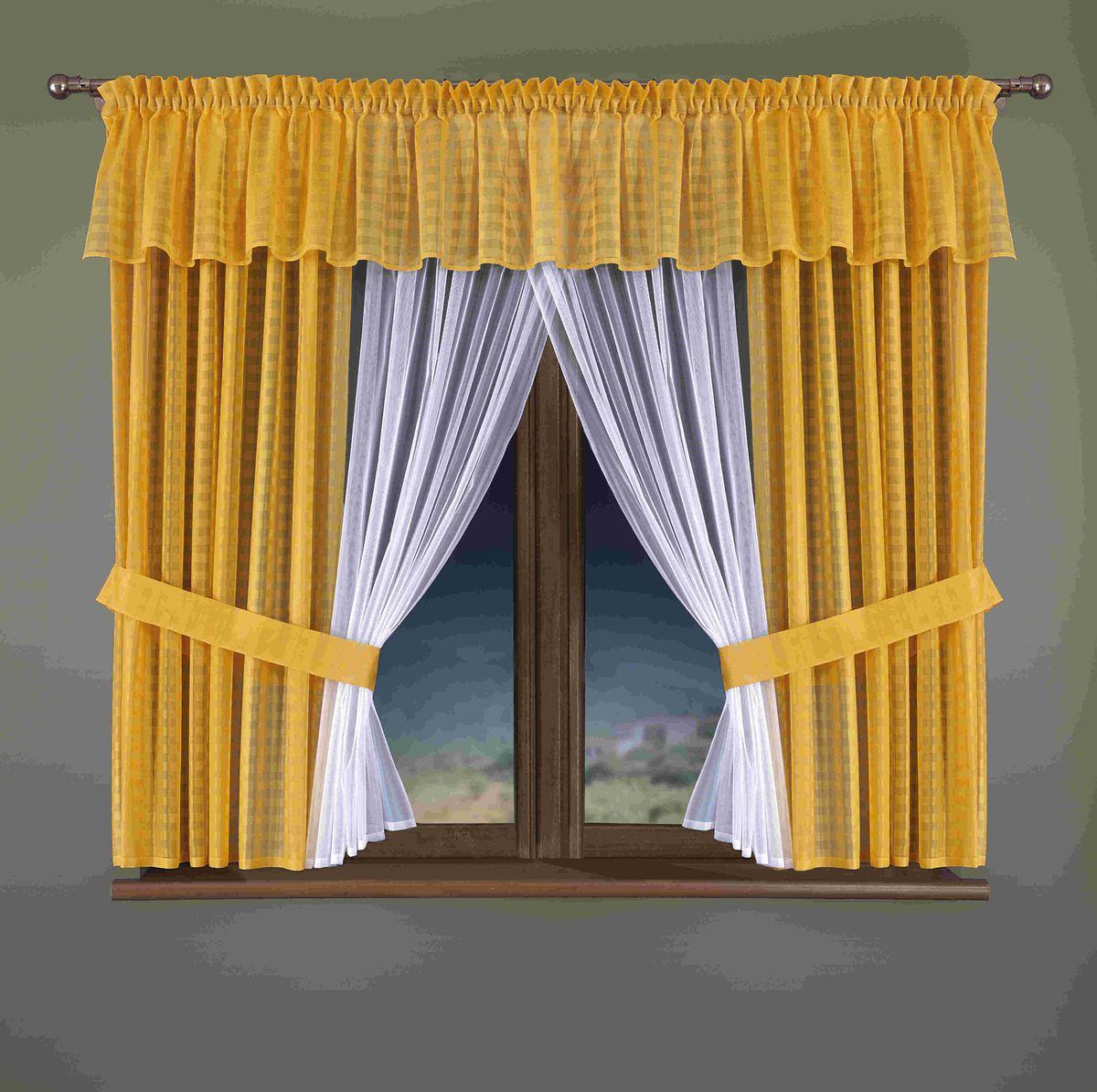 Комплект штор для кухни Wisan Sindi, цвет: белый, желтый, высота 170 смS03301004Комплект штор Wisan Sindi выполненный из полиэстера, великолепно украсит кухонное окно. Тонкое плетение, оригинальный дизайн привлекут к себе внимание и органично впишутся в интерьер. В комплект входят 2 шторы, тюль, ламбрекен и 2 подхвата. Нежный узор придает комплекту особый стиль и шарм. Тонкое плетение, нежная цветовая гамма и роскошное исполнение - все это делает шторы Wisan Sindi замечательным дополнением интерьера помещения. Комплект оснащен шторной лентой для красивой сборки. В комплект входит: Штора - 2 шт. Размер (ШхВ): 150 см х 170 см. Тюль - 1 шт. Размер (ШхВ): 150 см х 170 см. Ламбрекен - 1 шь. Размер (ШхВ): 400 см х 40 см. Подхват - 2 шт.Фирма Wisan на польском рынке существует уже более пятидесяти лет и является одной из лучших польских фабрик по производству штор и тканей. Ассортимент фирмы представлен готовыми комплектами штор для гостиной, детской, кухни, а также текстилем для кухни (скатерти, салфетки, дорожки, кухонные занавески). Модельный ряд отличает оригинальный дизайн, высокое качество. Ассортимент продукции постоянно пополняется.