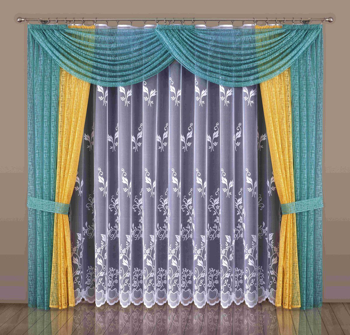 Комплект штор Wisan Maryla, на ленте, цвет: оранжевый, бирюзовый, высота 250 см10503Комплект штор Wisan Maryla выполненный из полиэстера, великолепно украсит любое окно. Тонкое плетение, оригинальный дизайн привлекут к себе внимание и органично впишутся в интерьер. Комплект состоит из 2 штор, тюля, ламбрекена и 2 подхватов. Кружевной узор придает комплекту особый стиль и шарм. Тонкое жаккардовое плетение, нежная цветовая гамма и роскошное исполнение - все это делает шторы Wisan Maryla замечательным дополнением интерьера помещения. Все предметы комплекта оснащены шторной лентой для красивой драпировки. В комплект входит: Штора - 2 шт. Размер (ШхВ): 250 см х 250 см. Тюль - 1 шт. Размер (ШхВ): 450 см х 250 см. Ламбрекен - 1 шт. Размер (ШхВ): 300 см х 55 см.Подхваты - 2 шт. Фирма Wisan на польском рынке существует уже более пятидесяти лет и является одной из лучших польских фабрик по производству штор и тканей. Ассортимент фирмы представлен готовыми комплектами штор для гостиной, детской, кухни, а также текстилем для кухни (скатерти, салфетки, дорожки, кухонные занавески). Модельный ряд отличает оригинальный дизайн, высокое качество. Ассортимент продукции постоянно пополняется.