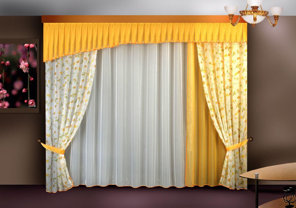 Комплект штор Zlata Korunka, на ленте, цвет: желтый, высота 250 см. Б121Б121 желтыйКомплект штор Zlata Korunka великолепно украсит любое окно. Комплект состоит из портьер, тюля и ламбрекена. Для более изящного расположения на окне предусмотрены подхваты. Комплект выполнен из вуалевой ткани нежного оттенка с цветочным рисунком. Оригинальный дизайн и контрастная цветовая гамма привлекут к себе внимание и органично впишутся в интерьер комнаты. Все предметы комплекта оснащены шторной лентой для собирания в сборки. В комплект входит: Ламбрекен: 1 шт. Размер (Ш х В): 300 см х 50 см. Тюль: 1 шт. Размер (Ш х В): 280 см х 250 см. Штора: 3 шт. Размер (Ш х В): 140 см х 250 см. Подхват: 2 шт.