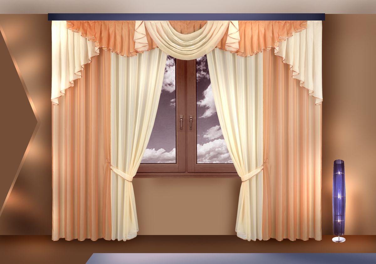 Комплект штор Zlata Korunka, на ленте, цвет: бежевый, высота 250 см. Б12010503Комплект штор Zlata Korunka великолепно украсит любое окно. Комплект состоит из портьер, тюля и ламбрекена. Для более изящного расположения на окне предусмотрены подхваты из атласной ленты.Комплект выполнен из вуалевой ткани нежного оттенка. Оригинальный дизайн и контрастная цветовая гамма привлекут к себе внимание и органично впишутся в интерьер комнаты. Все предметы комплекта оснащены шторной лентой для собирания в сборки.В комплект входит: Ламбрекен: 1 шт. Размер (Ш х В): 320 см х 100 см. Тюль: 2 шт. Размер (Ш х В): 140 см х 250 см.Штора: 2 шт. Размер (Ш х В): 140 см х 250 см.Подхват: 2 шт.